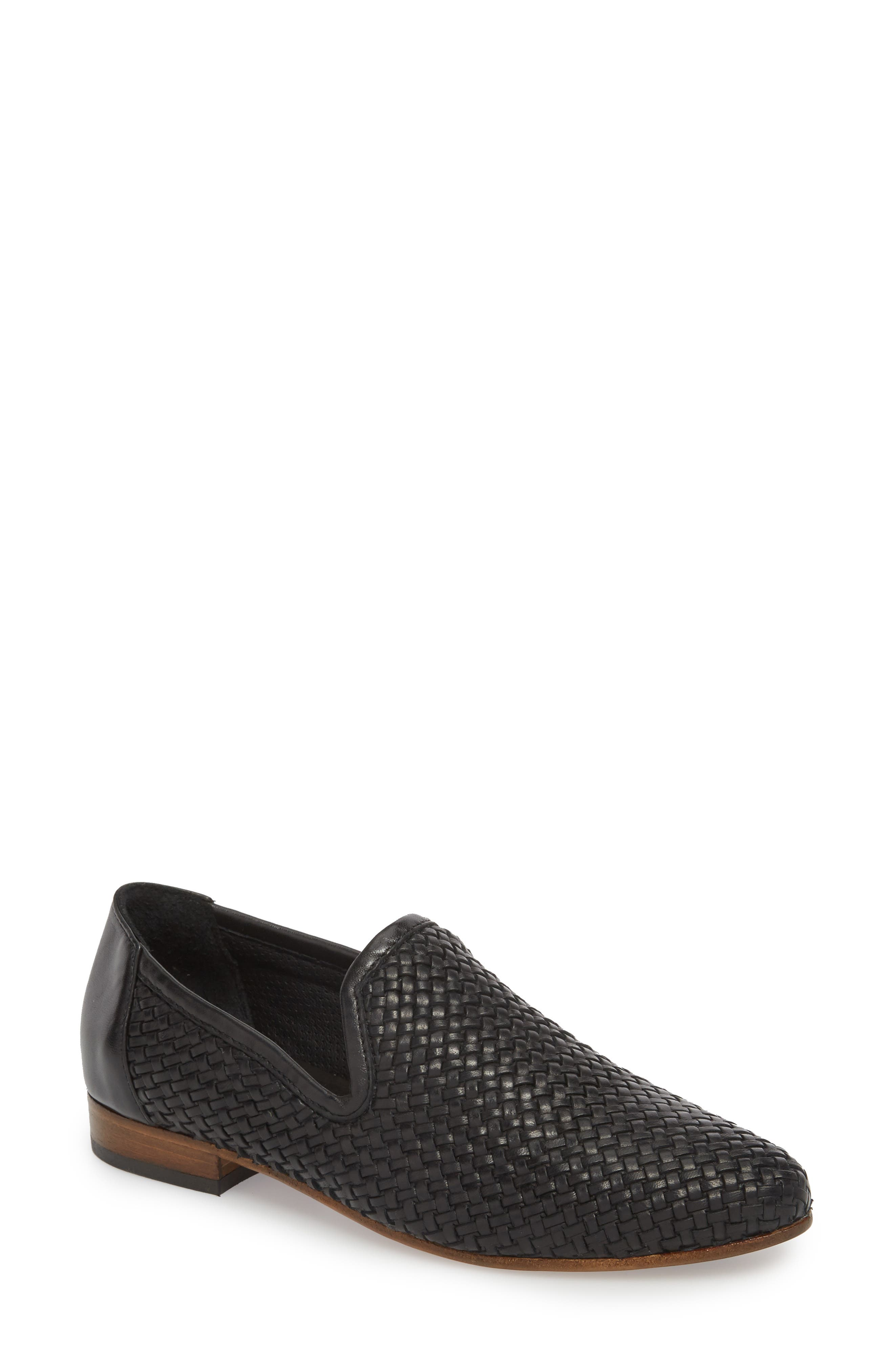 Yara Woven Slip-On Loafer,                             Main thumbnail 1, color,                             Onyx Leather