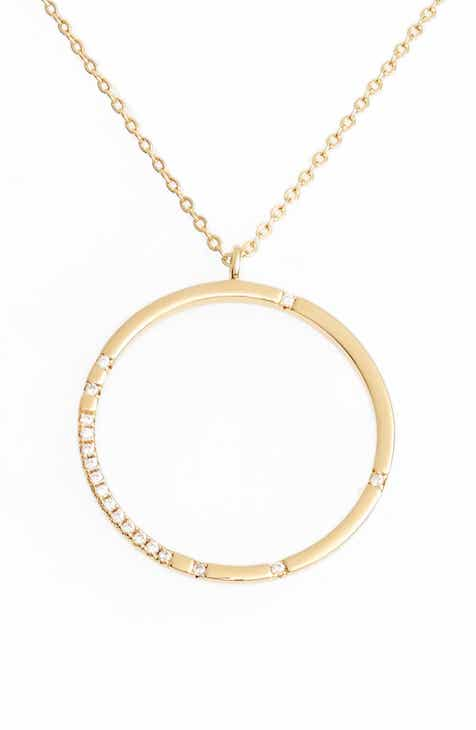 Gold circle pendant necklace nordstrom scatter pav open circle pendant necklace aloadofball Image collections