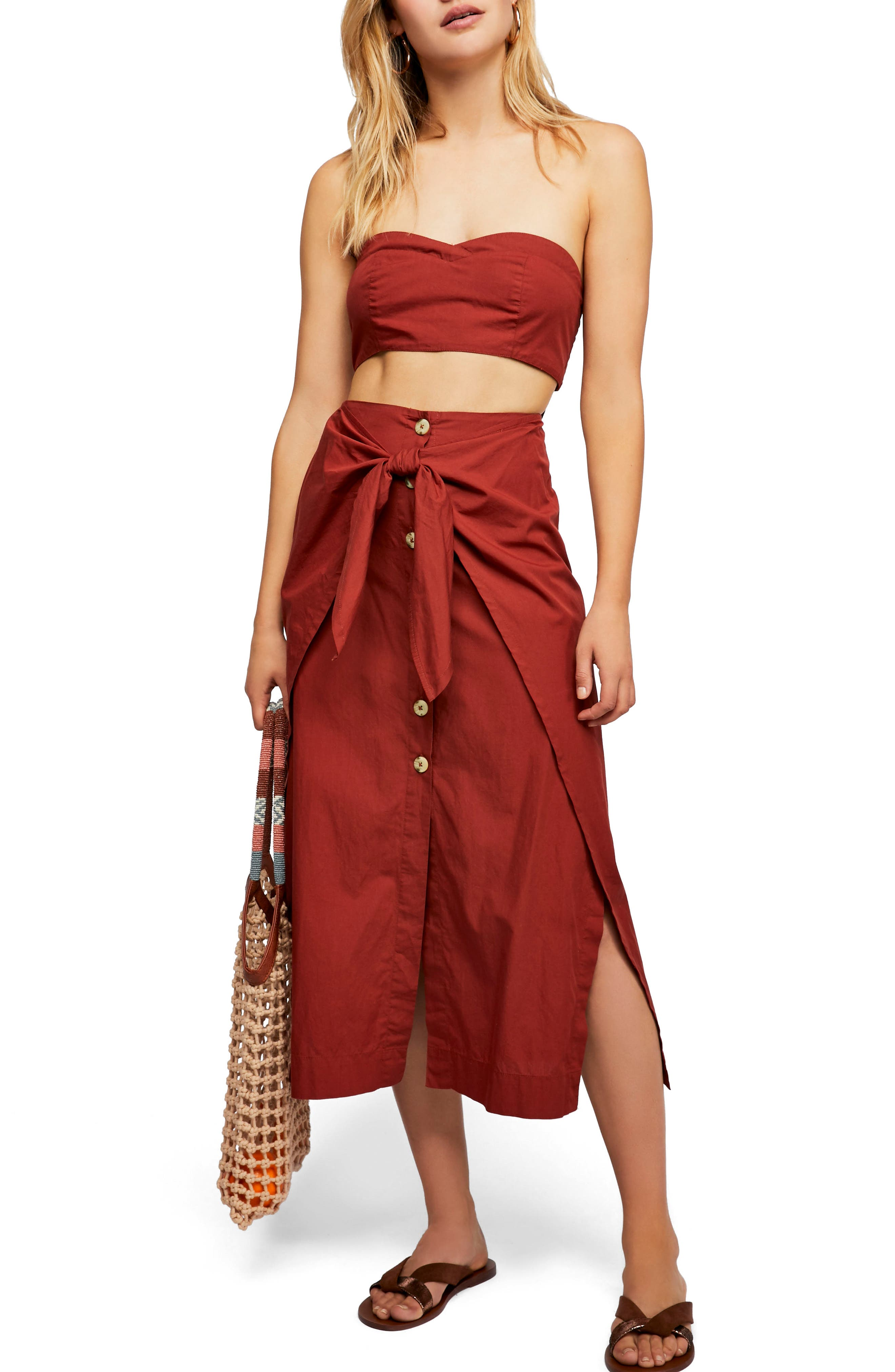 Endless Summer by Free People Sunny Sun Top & Skirt,                             Main thumbnail 1, color,                             Bronze