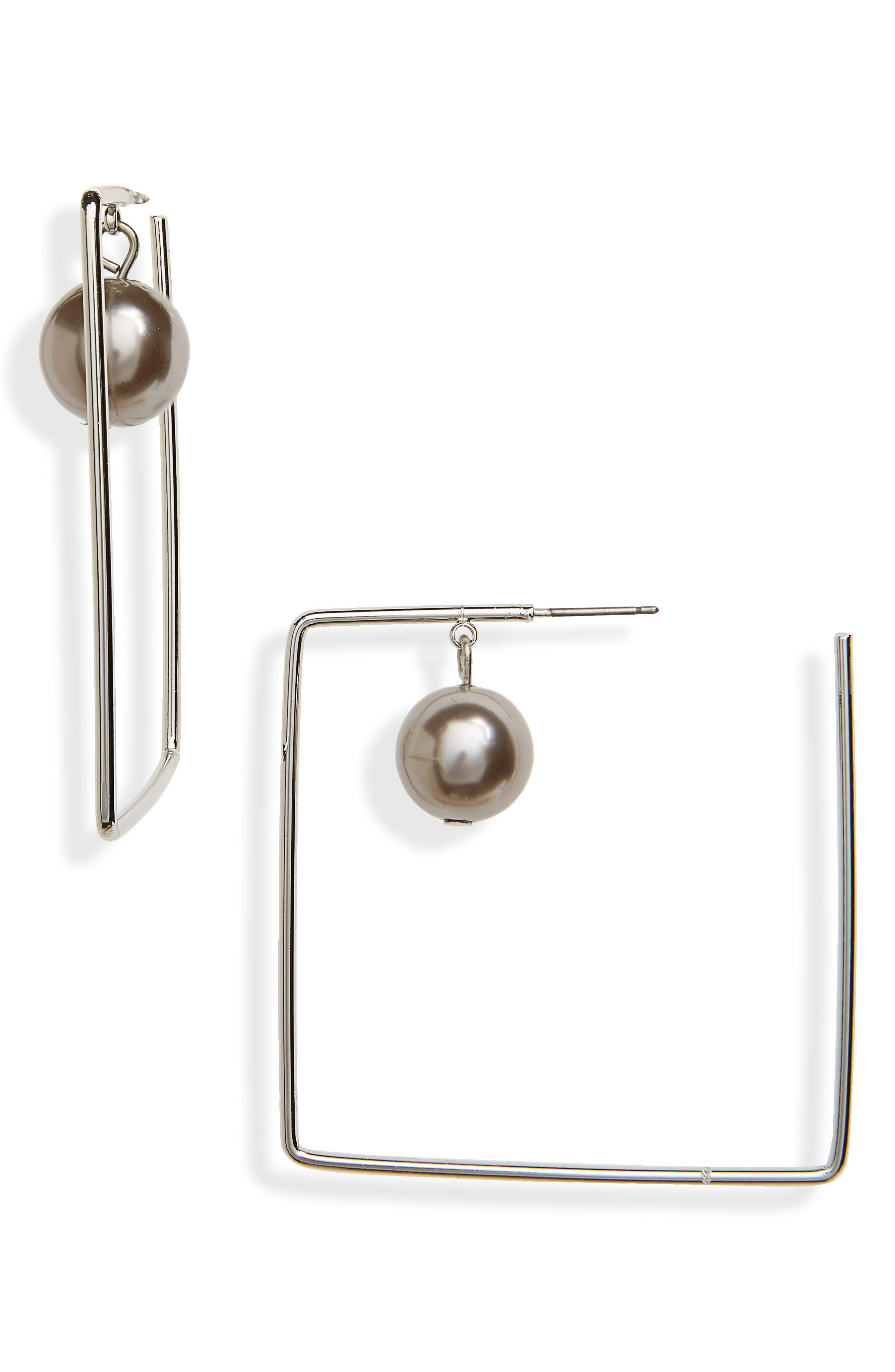 Square Ball Earrings,                         Main,                         color, Hematite