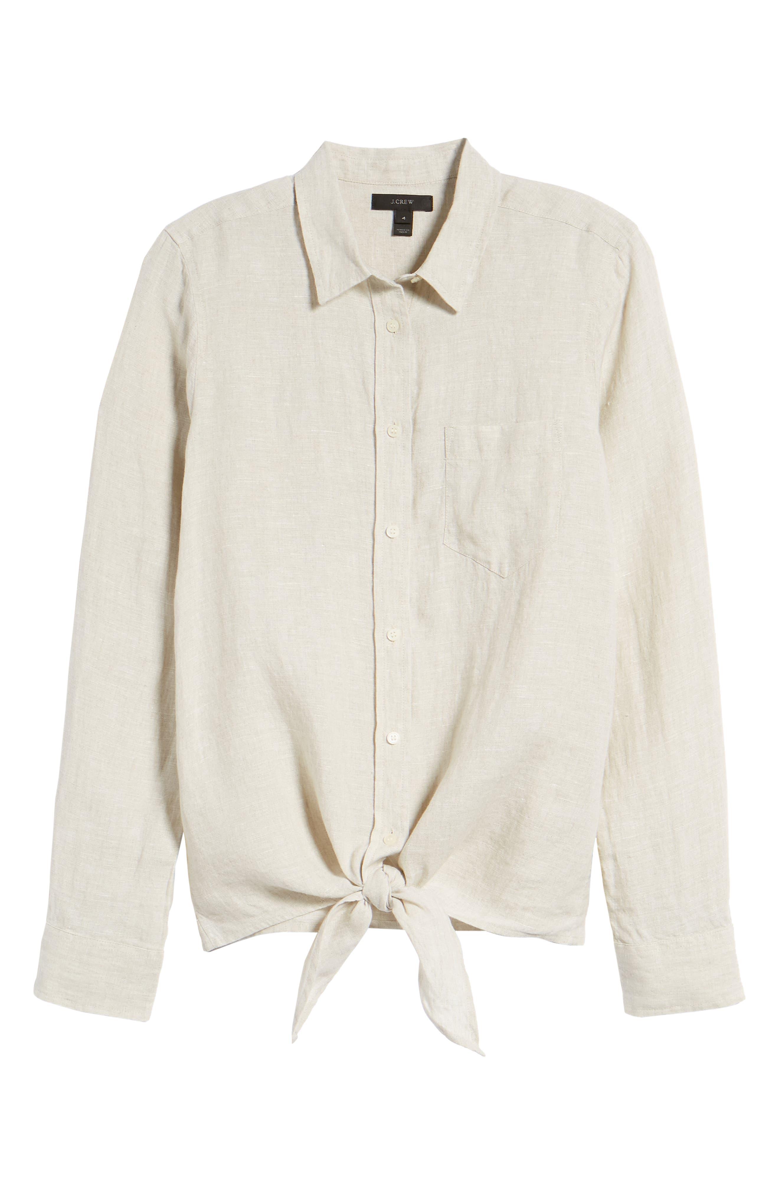 Tie Front Linen Shirt,                             Alternate thumbnail 6, color,                             Flax