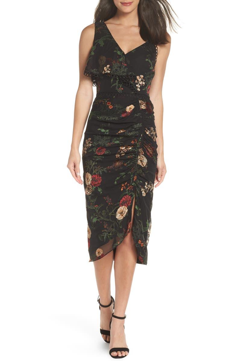Asymmetrical Floral Midi Dress
