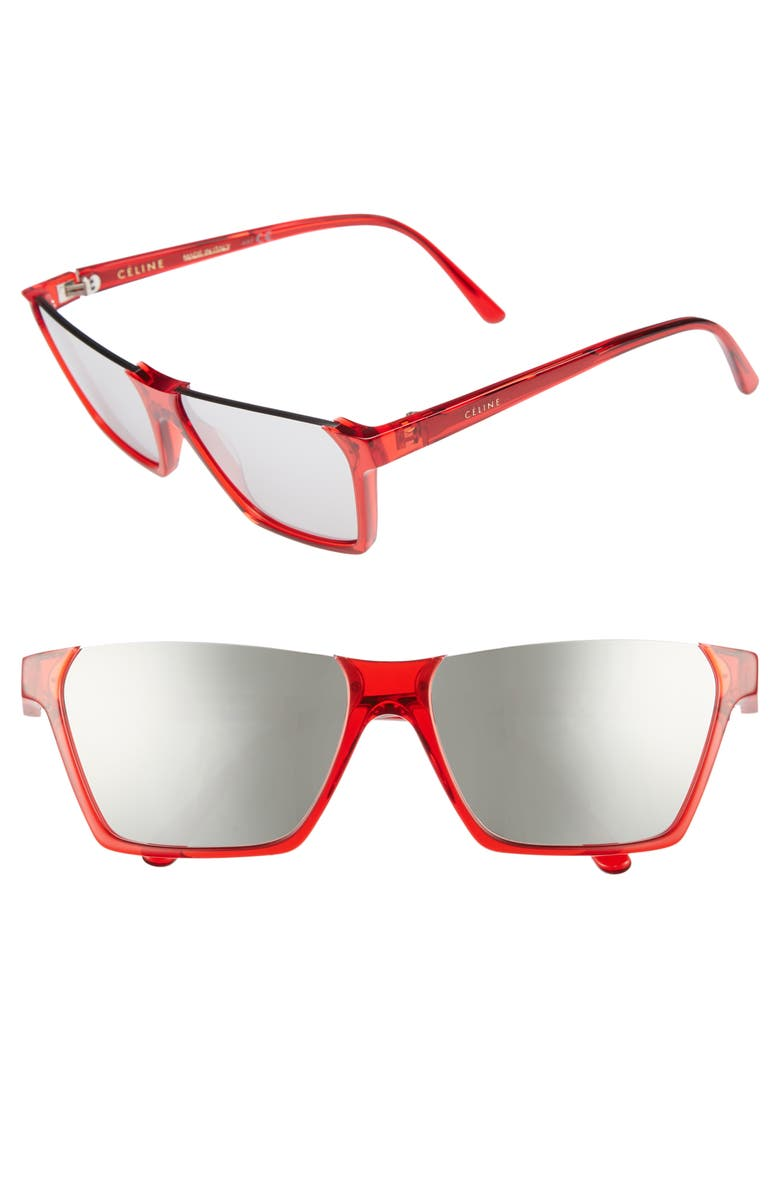 6f1ac2c7197 Celine Semi-Rimless Rectangular Mirrored Sunglasses In Red  Silver Flash