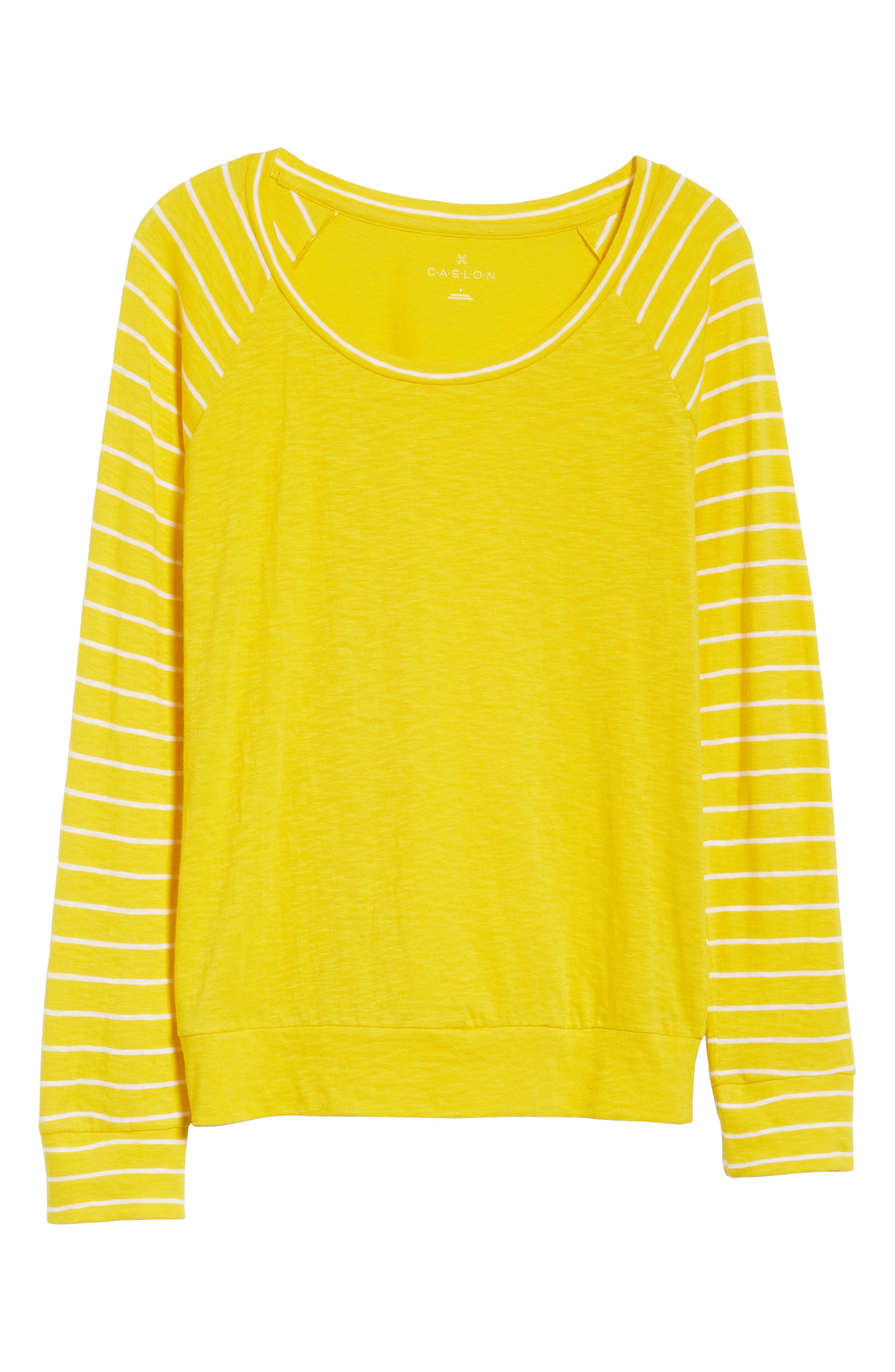 Lightweight Colorblock Cotton Tee,                             Alternate thumbnail 29, color,                             Yellow- White Lukah Combo
