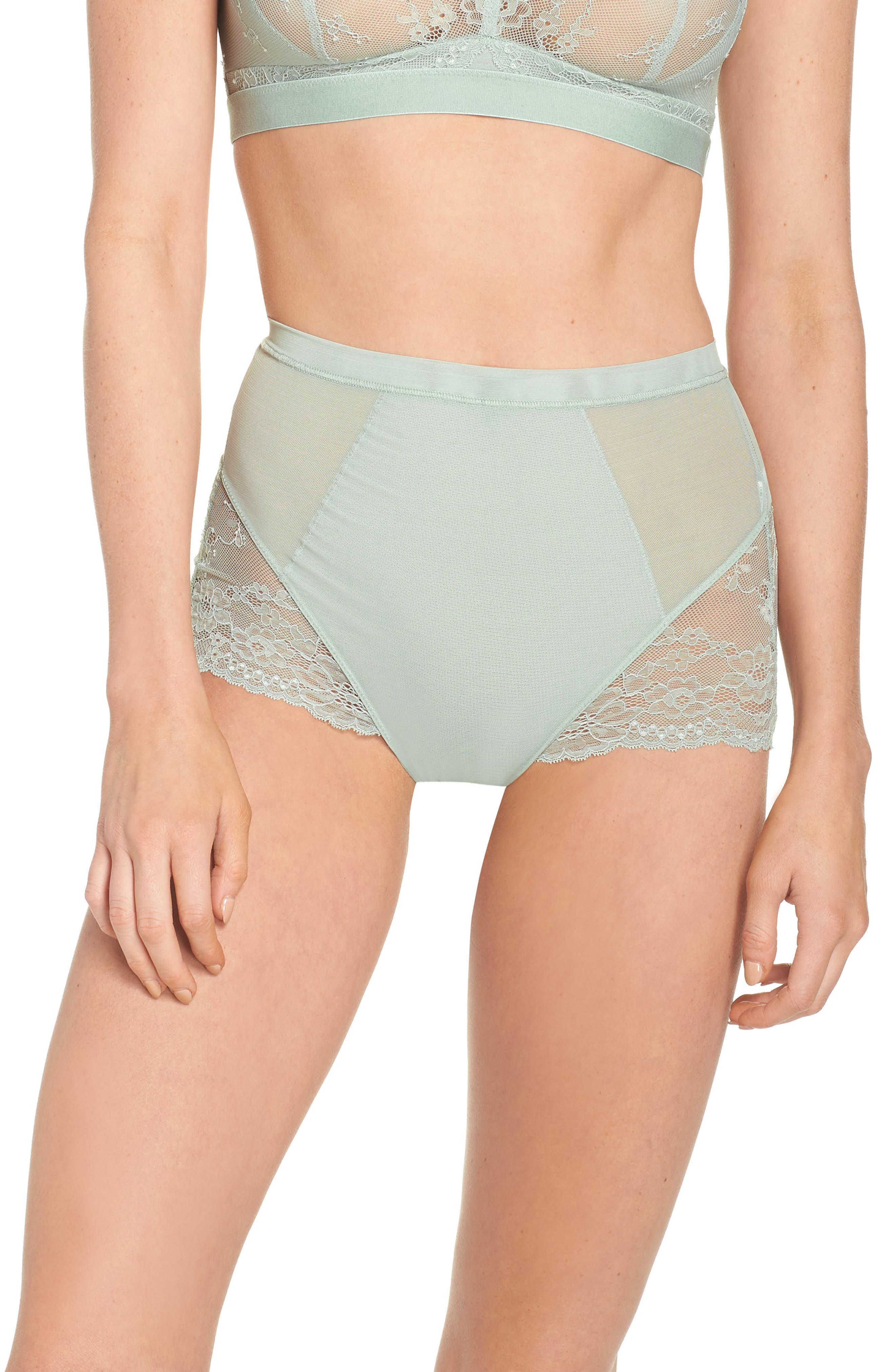 Spotlight On Lace Briefs,                             Main thumbnail 1, color,                             Seafoam Green