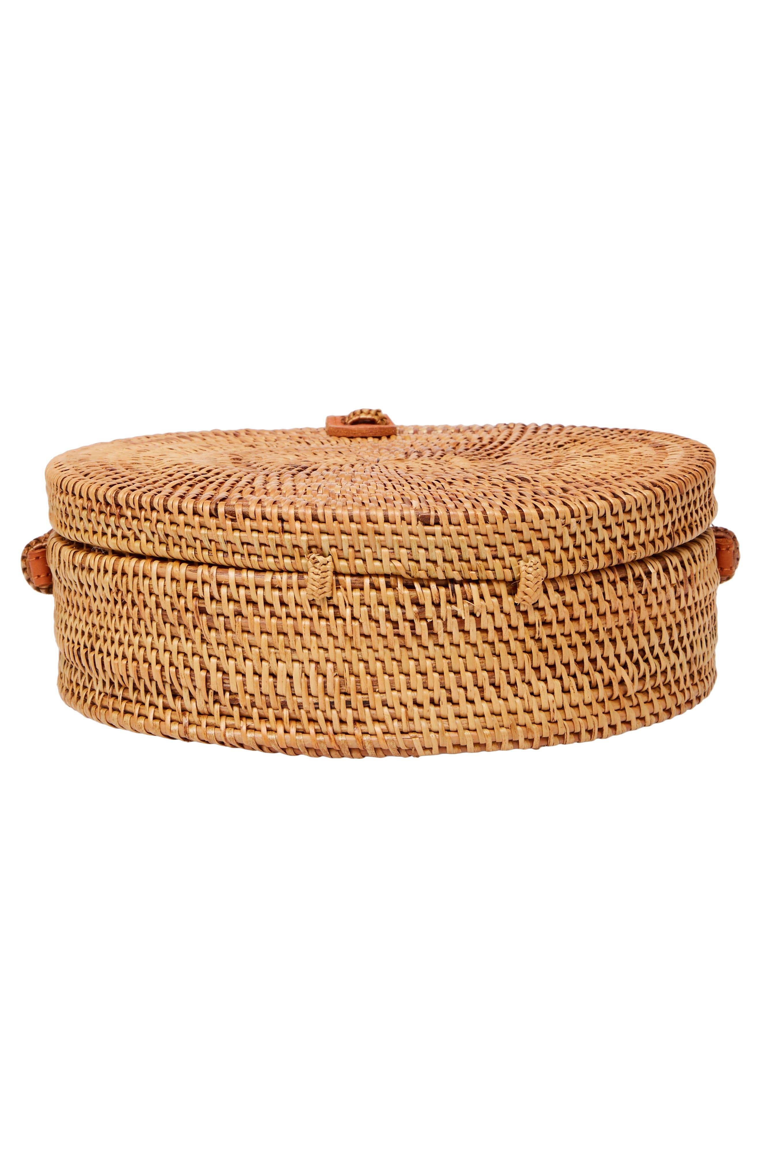 Woven Rattan Circle Basket Crossbody,                             Alternate thumbnail 6, color,                             Tan