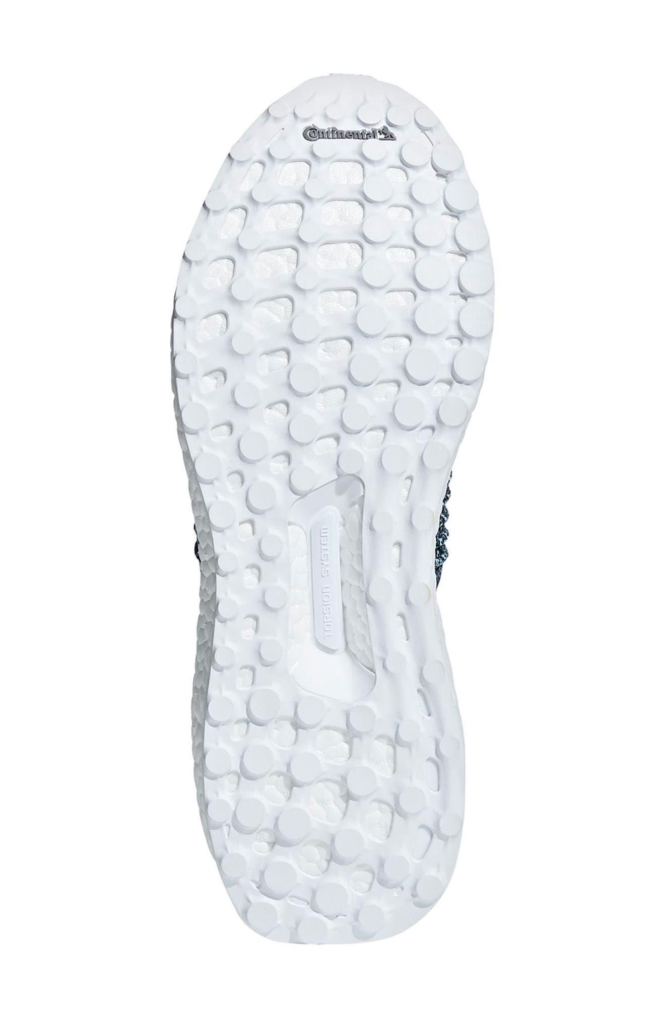 UltraBoost Laceless Running Shoe,                             Alternate thumbnail 3, color,                             Raw Grey/ Carbon/ Blue Spirit