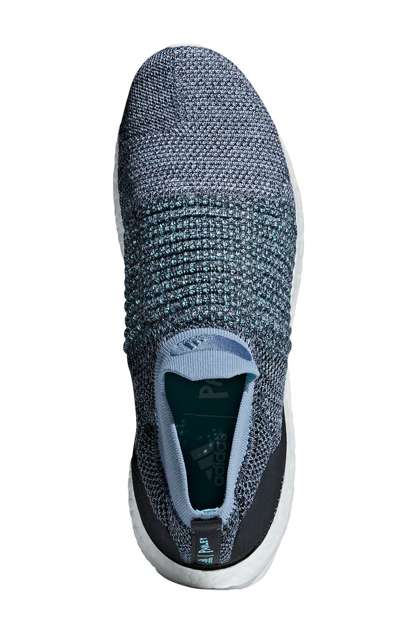 UltraBoost Laceless Running Shoe,                             Alternate thumbnail 5, color,                             Raw Grey/ Carbon/ Blue Spirit