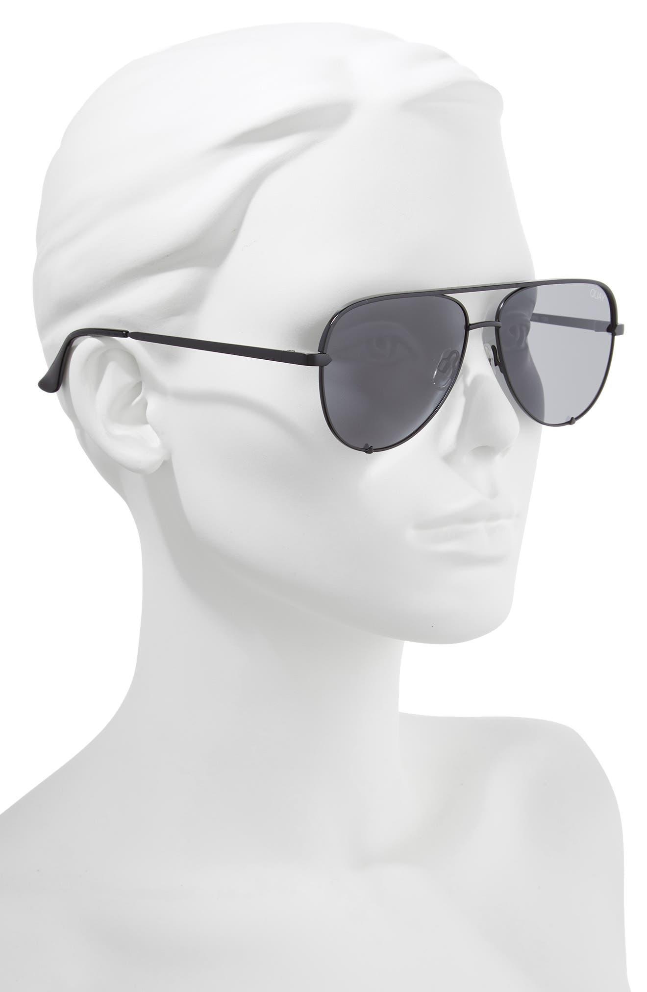 x Desi Perkins High Key Mini 57mm Aviator Sunglasses,                             Alternate thumbnail 3, color,                             Black/ Smoke