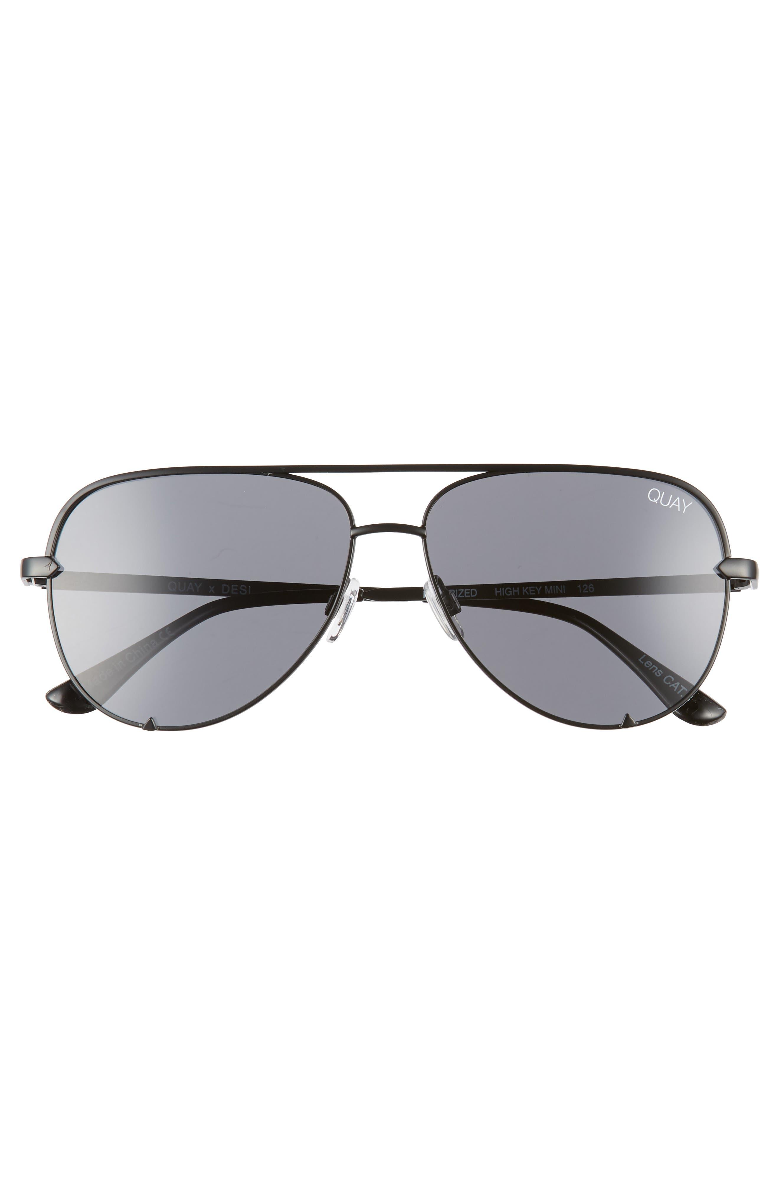x Desi Perkins High Key Mini 57mm Aviator Sunglasses,                             Alternate thumbnail 4, color,                             Black/ Smoke