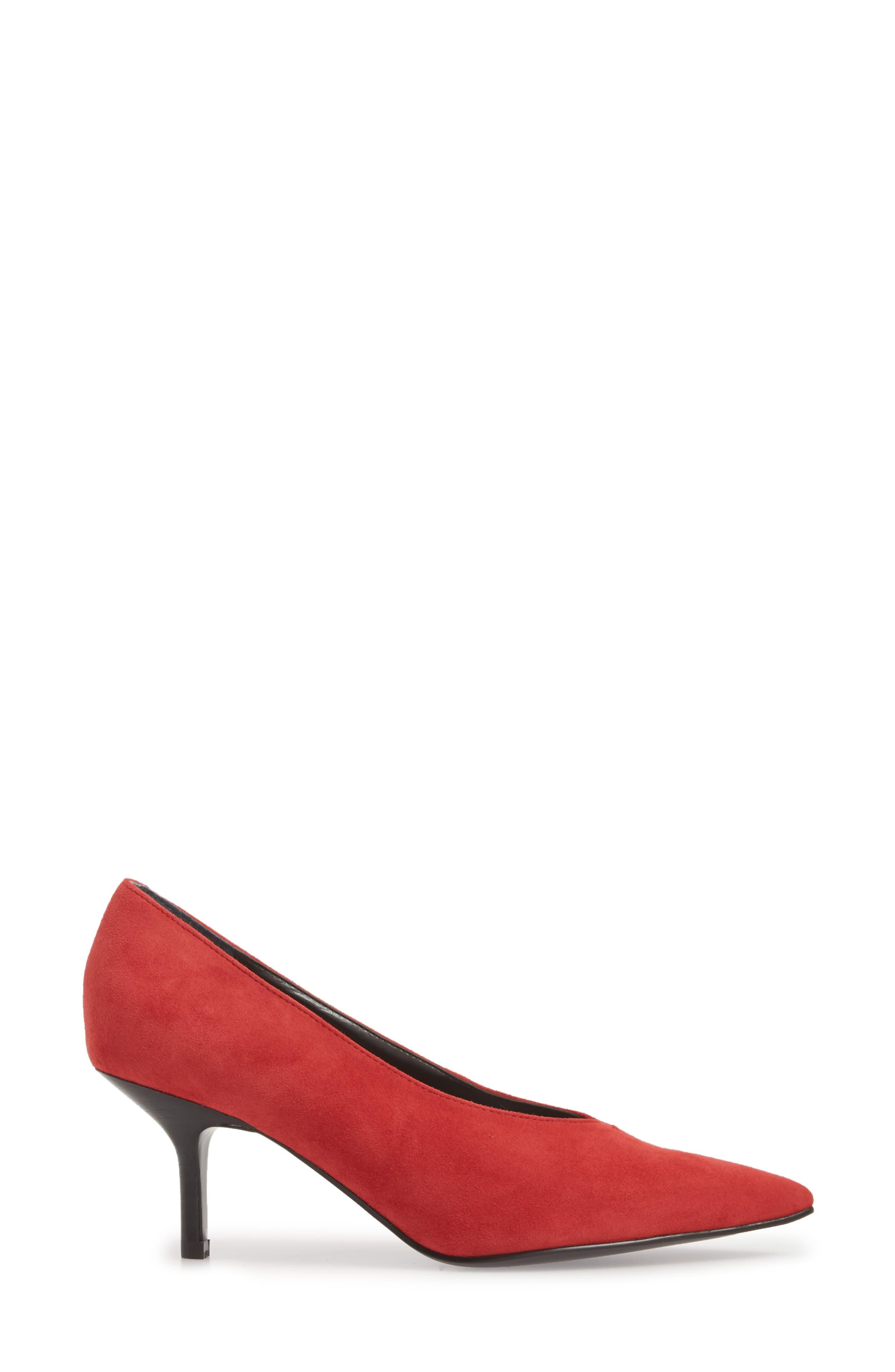 Dallon Kitten Heel Pump,                             Alternate thumbnail 3, color,                             Red Suede