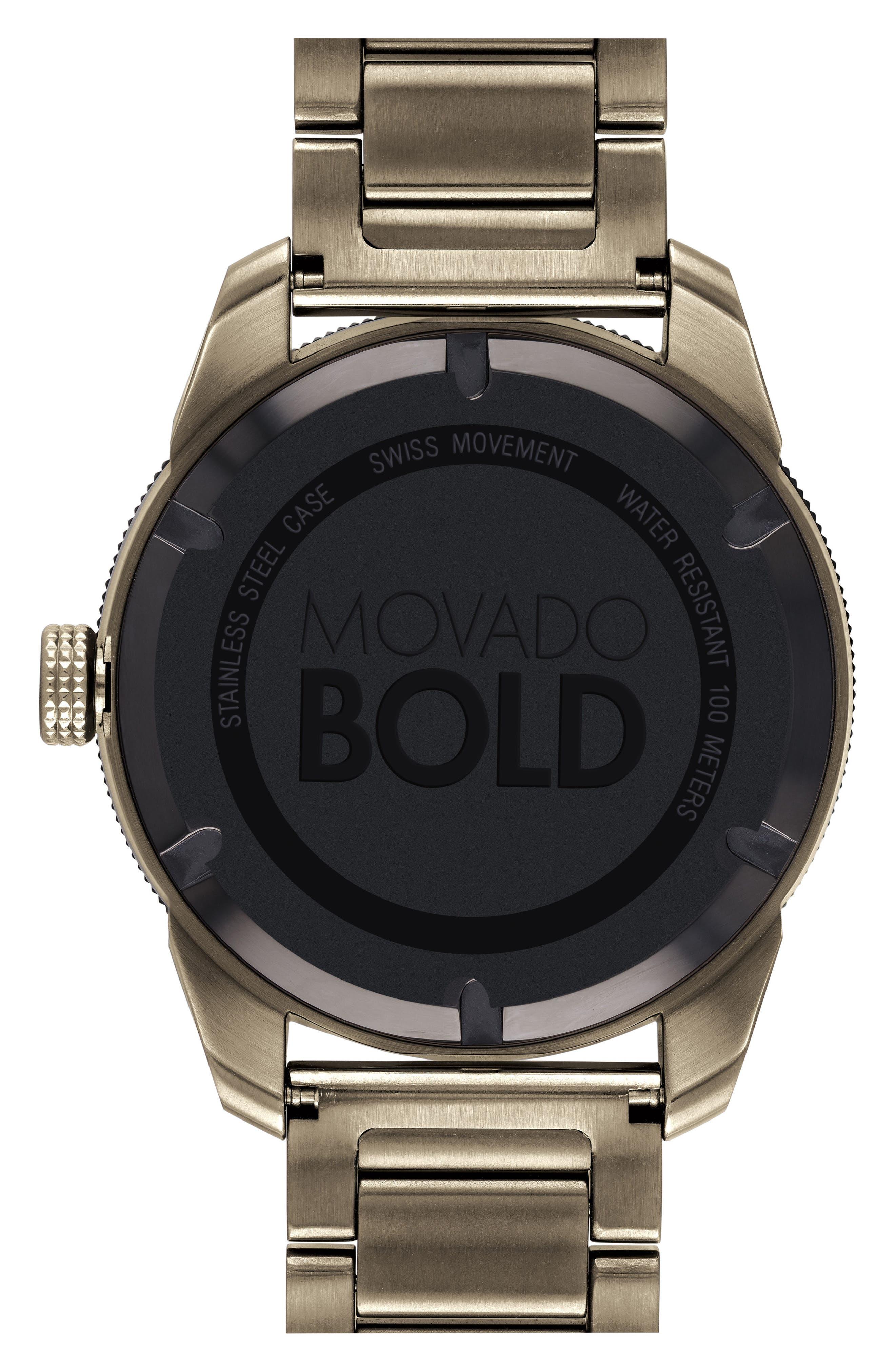 Bold Bracelet Watch, 43.5mm,                             Alternate thumbnail 2, color,                             Khaki/ Black