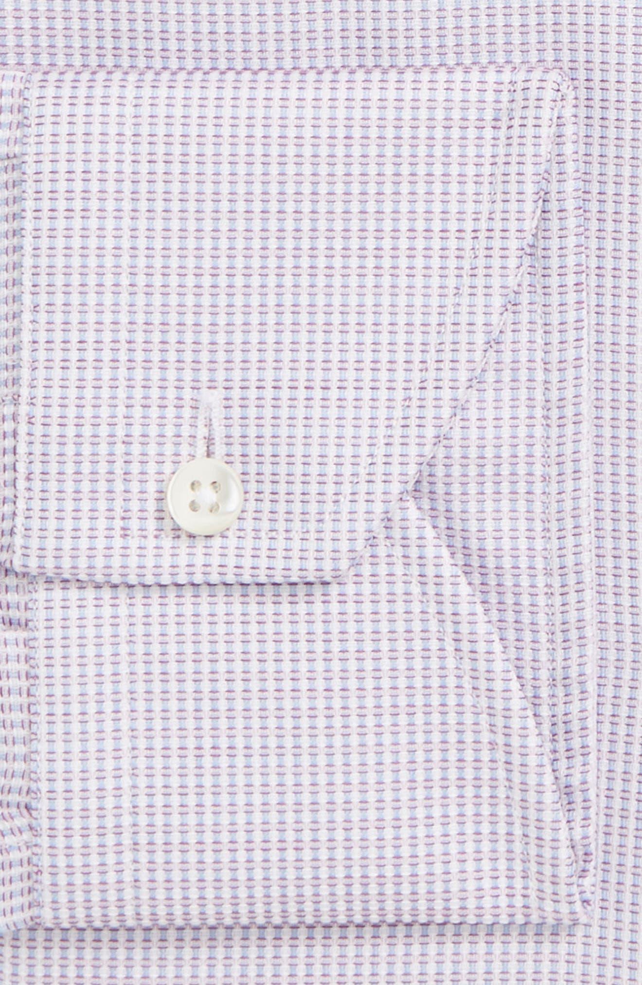Regular Fit Stripe Dress Shirt,                             Alternate thumbnail 5, color,                             Light Pink