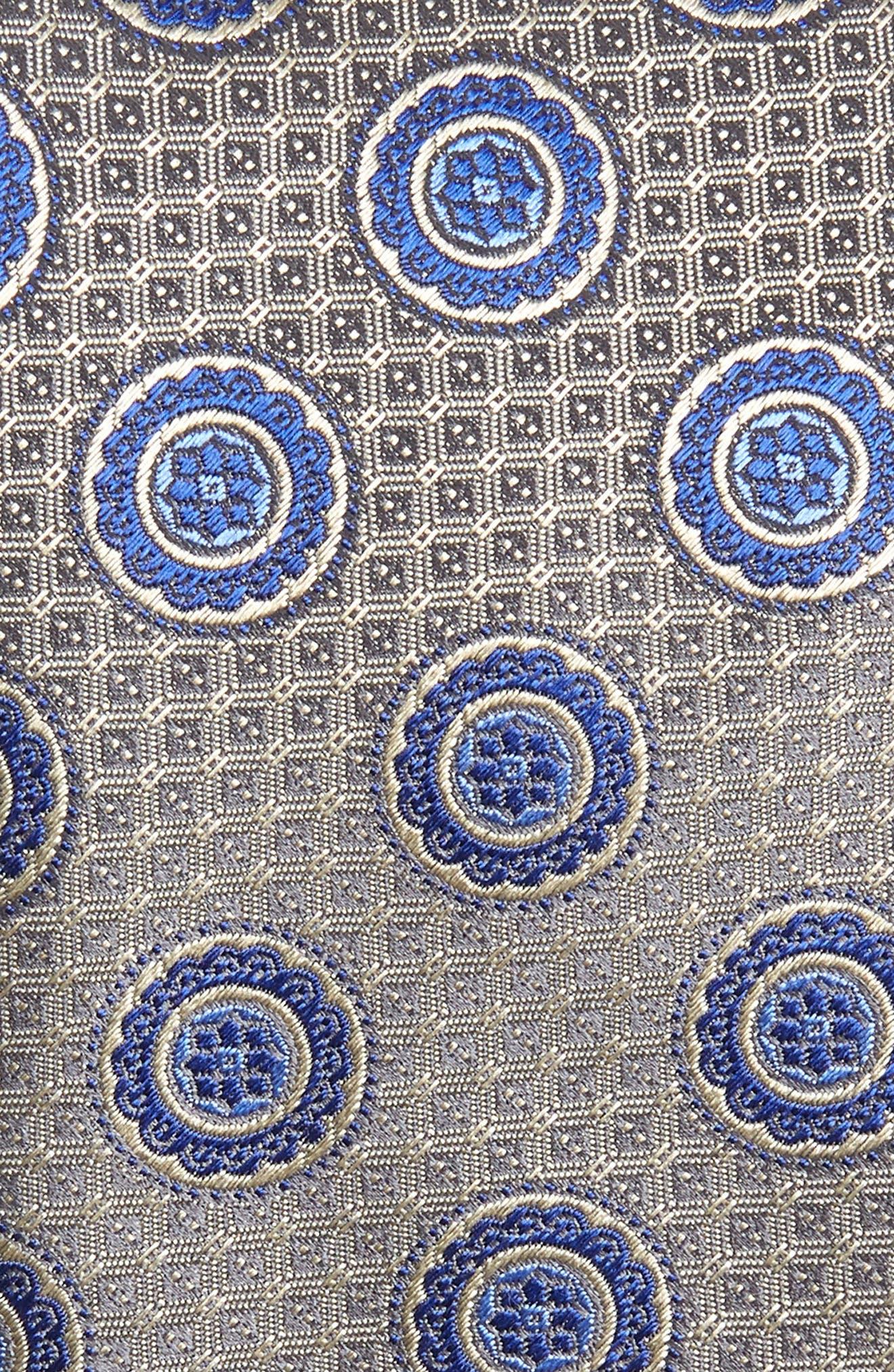Medallion Silk Tie,                             Alternate thumbnail 2, color,                             Silver