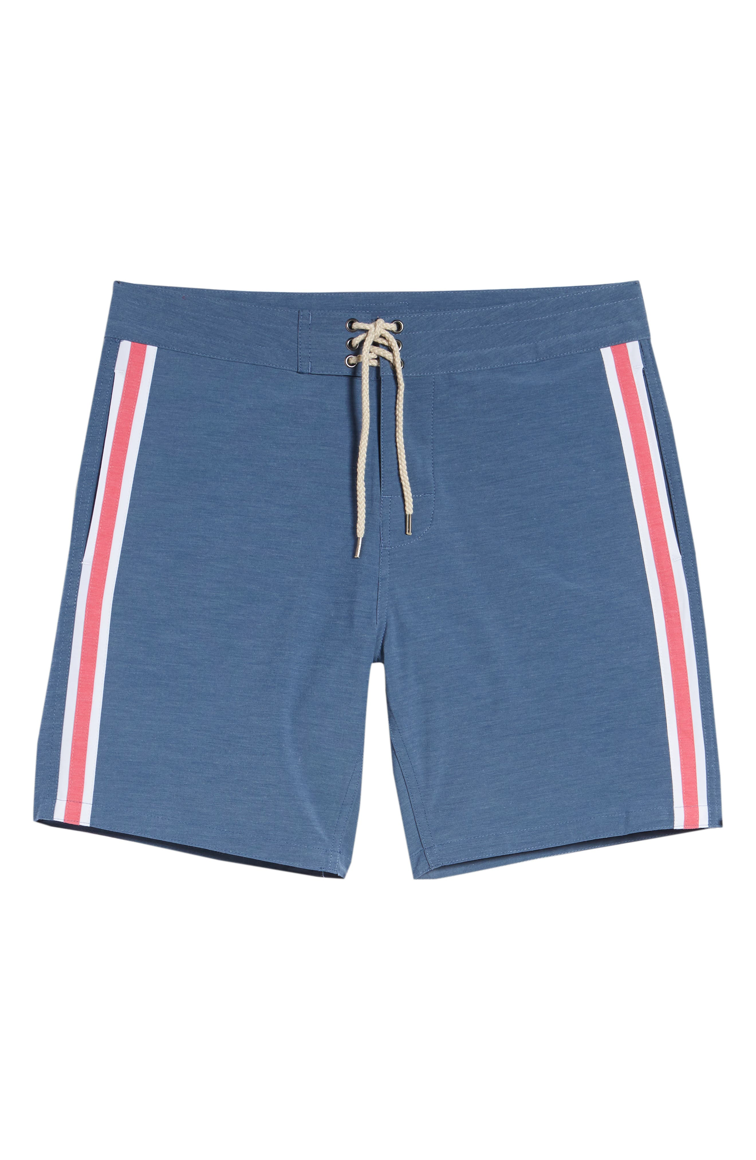 Retro Surf Stripe Board Shorts,                             Alternate thumbnail 6, color,                             Blue Red White