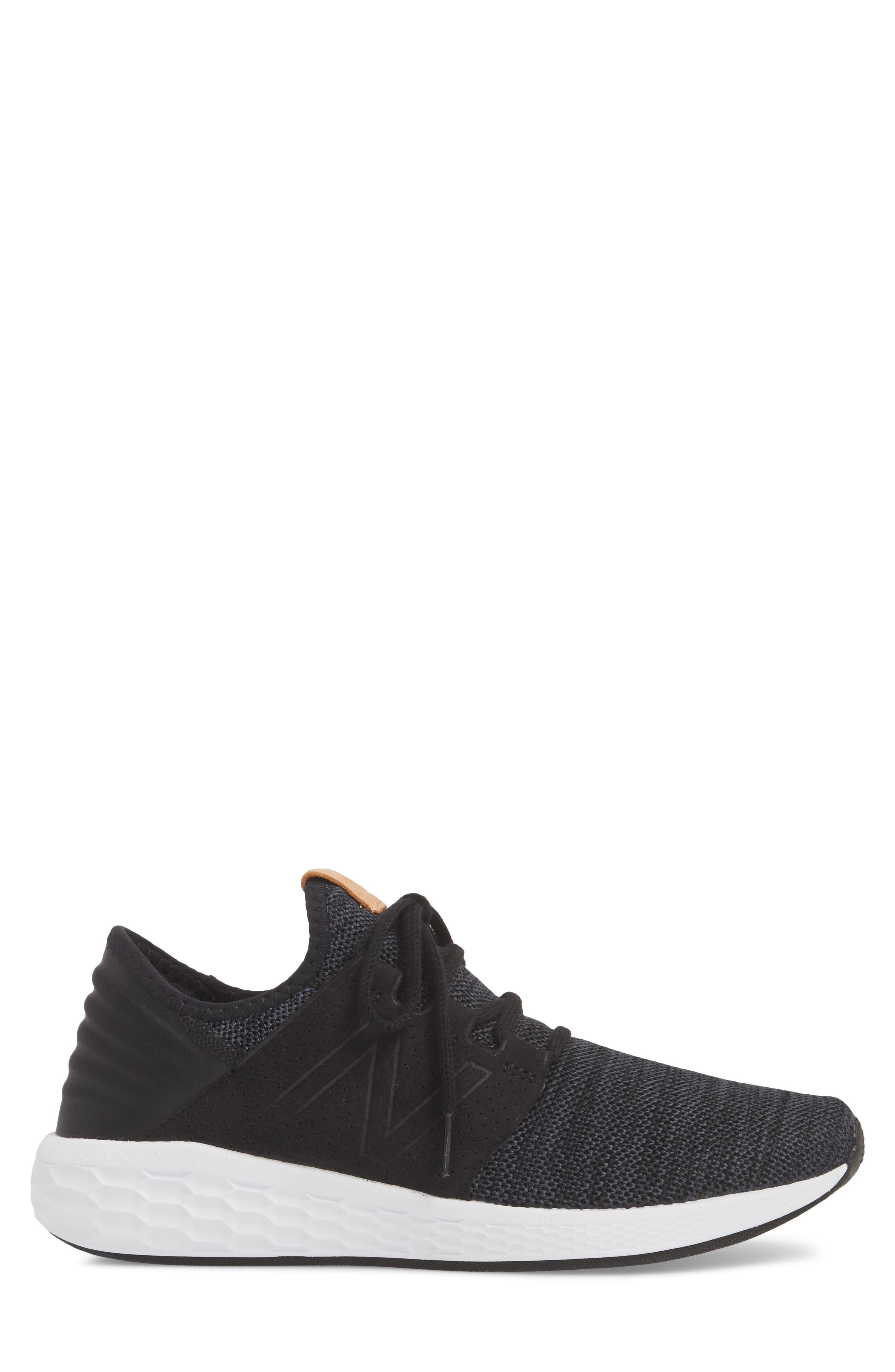 Fresh Foam Cruz v2 Knit Running Shoe,                             Alternate thumbnail 6, color,                             Black/ White
