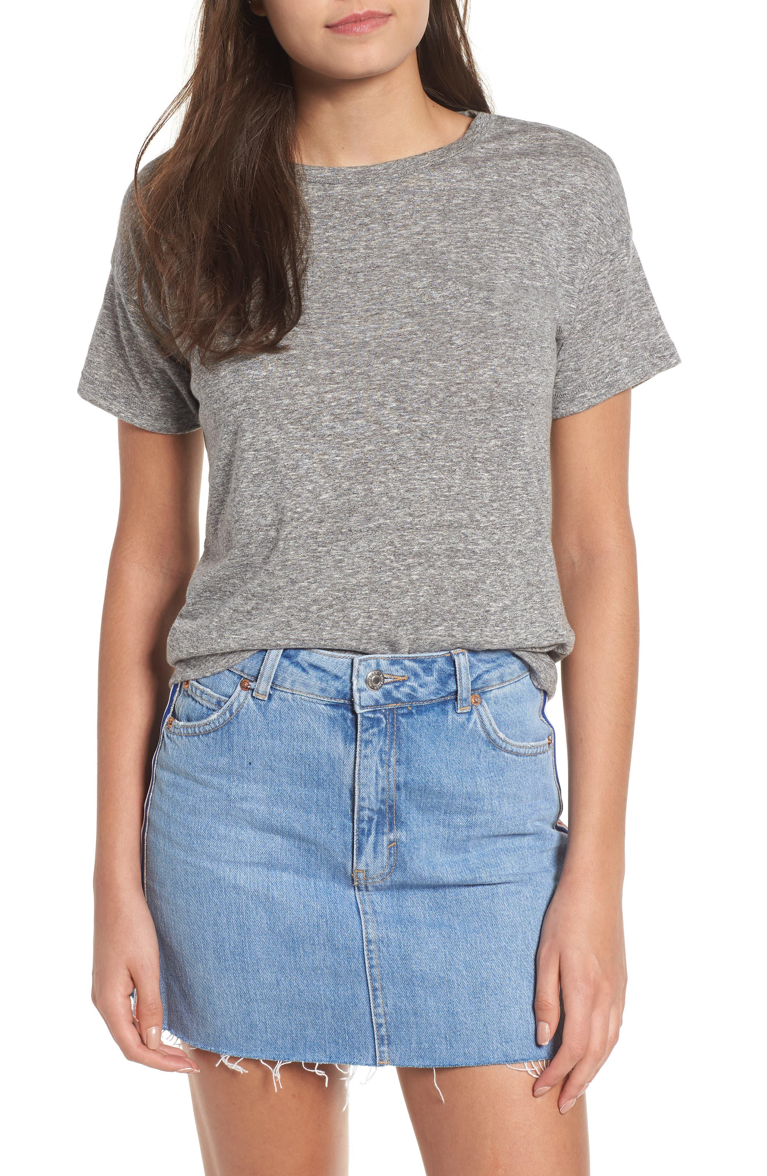 Short Sleeve Marl T-Shirt,                         Main,                         color, Grey Marl