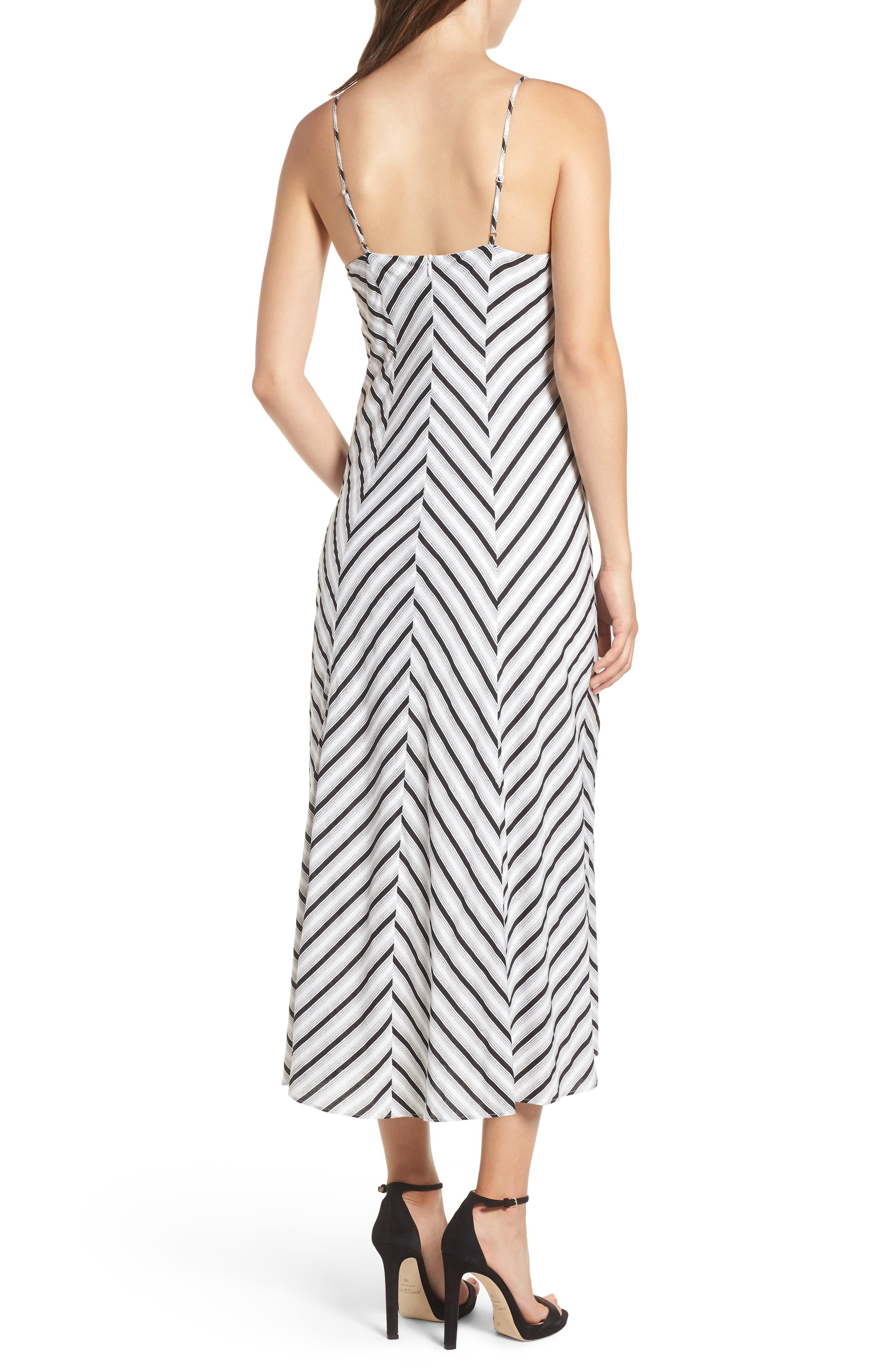 Stripe Gathered High/Low Dress,                             Alternate thumbnail 2, color,                             Black Stripe