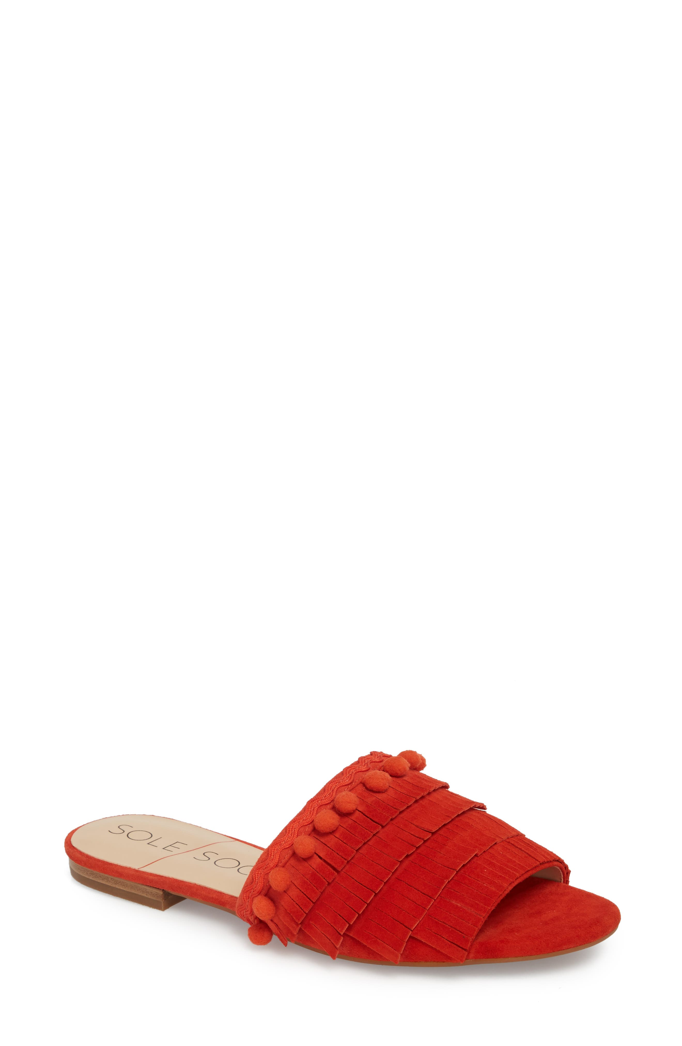 Malina Mule,                             Main thumbnail 1, color,                             Bright Coral Suede
