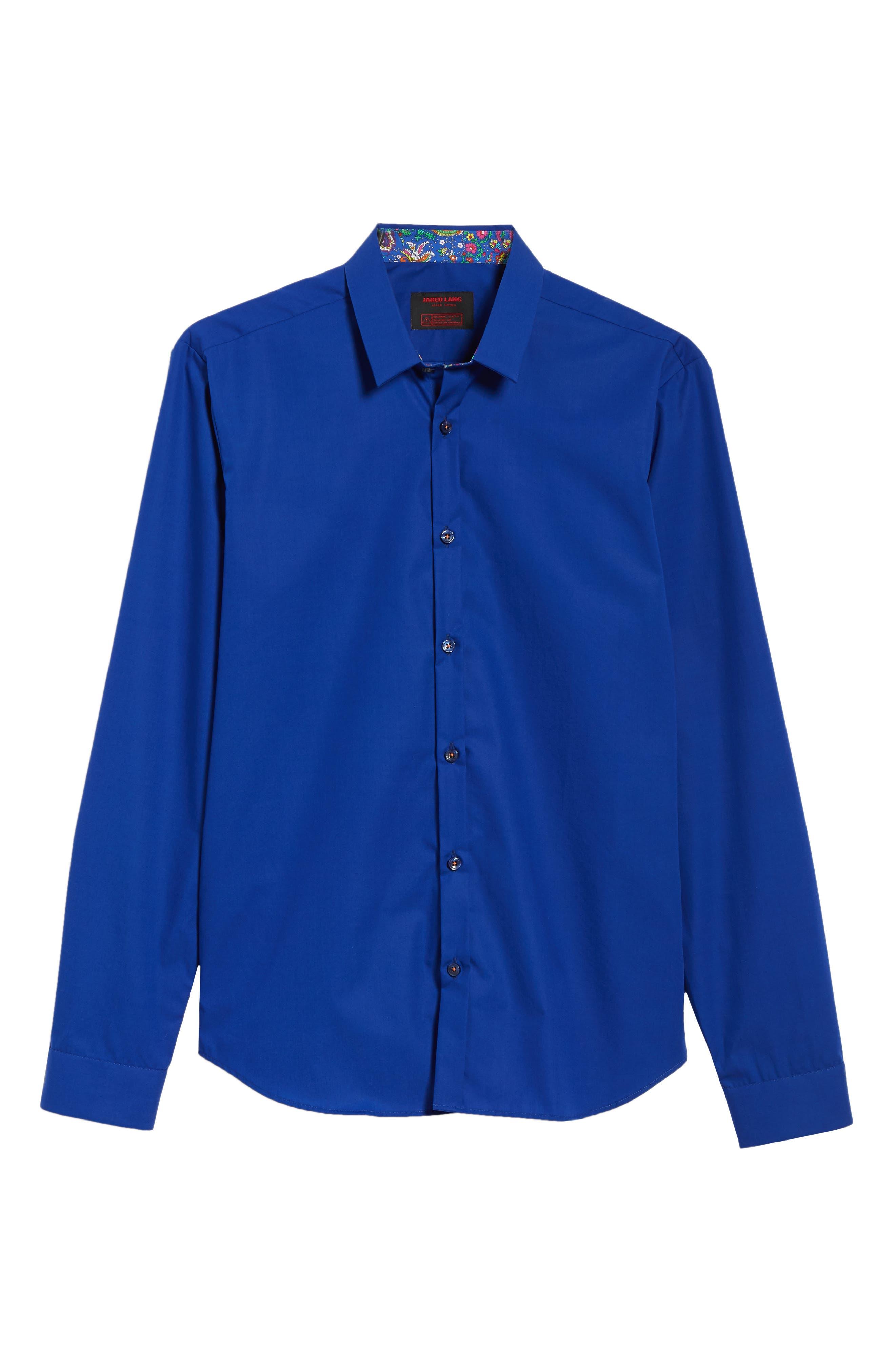 Trim Fit Sport Shirt,                             Alternate thumbnail 6, color,                             Blue