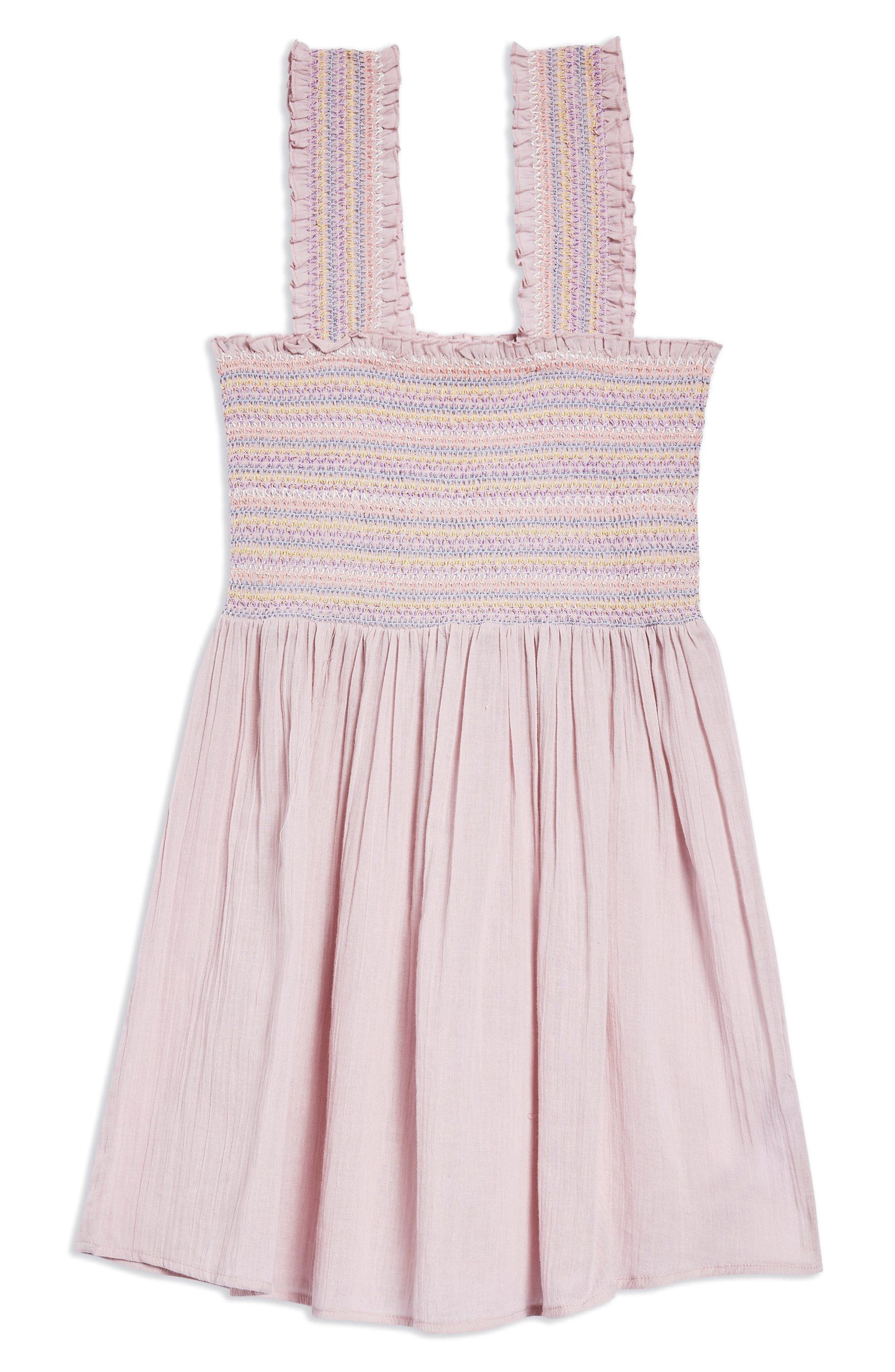 Smocked Mini Sundress,                             Alternate thumbnail 4, color,                             Pink Multi
