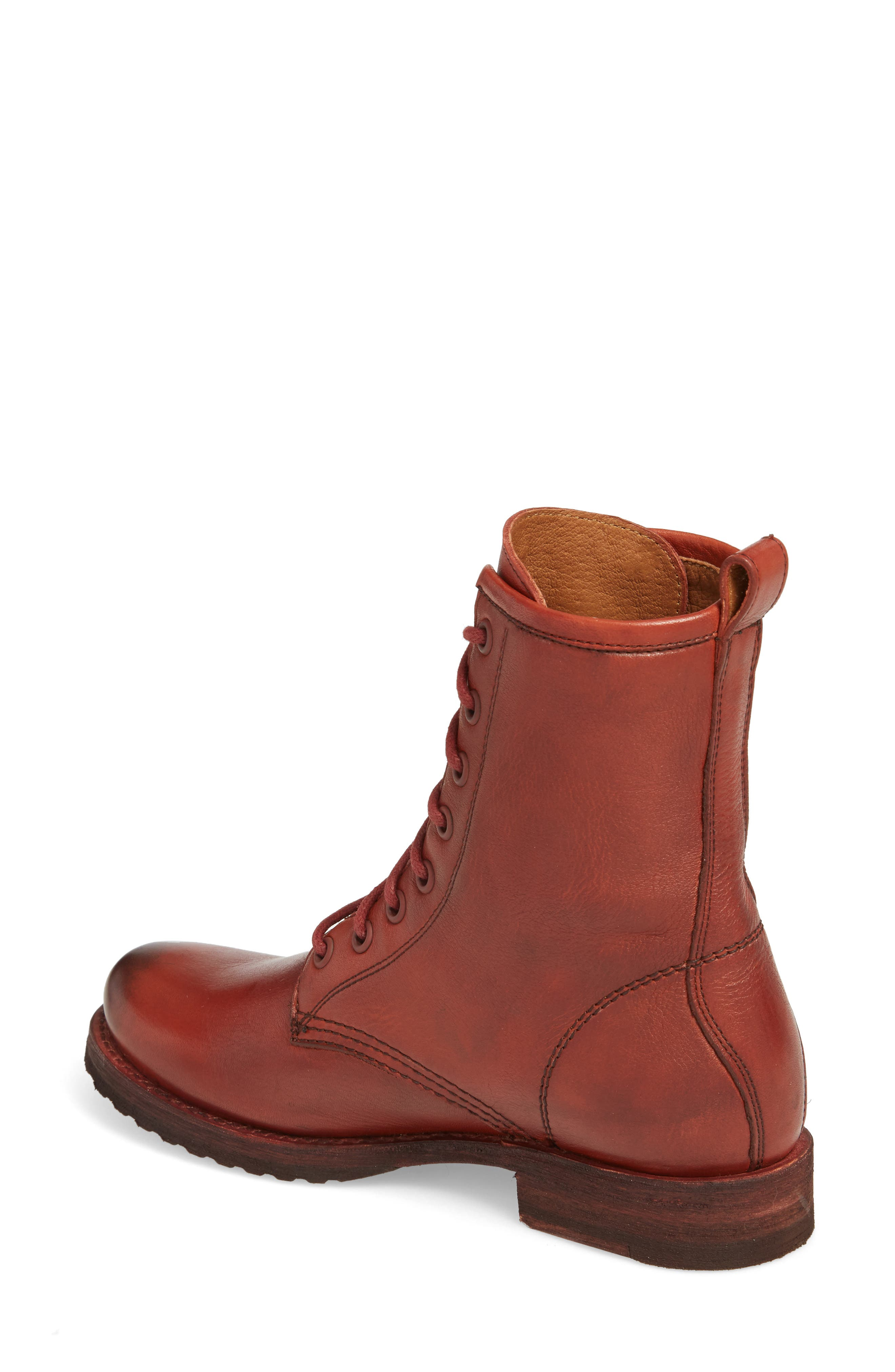 'Veronica Combat' Boot,                             Alternate thumbnail 2, color,                             Red Clay Leather