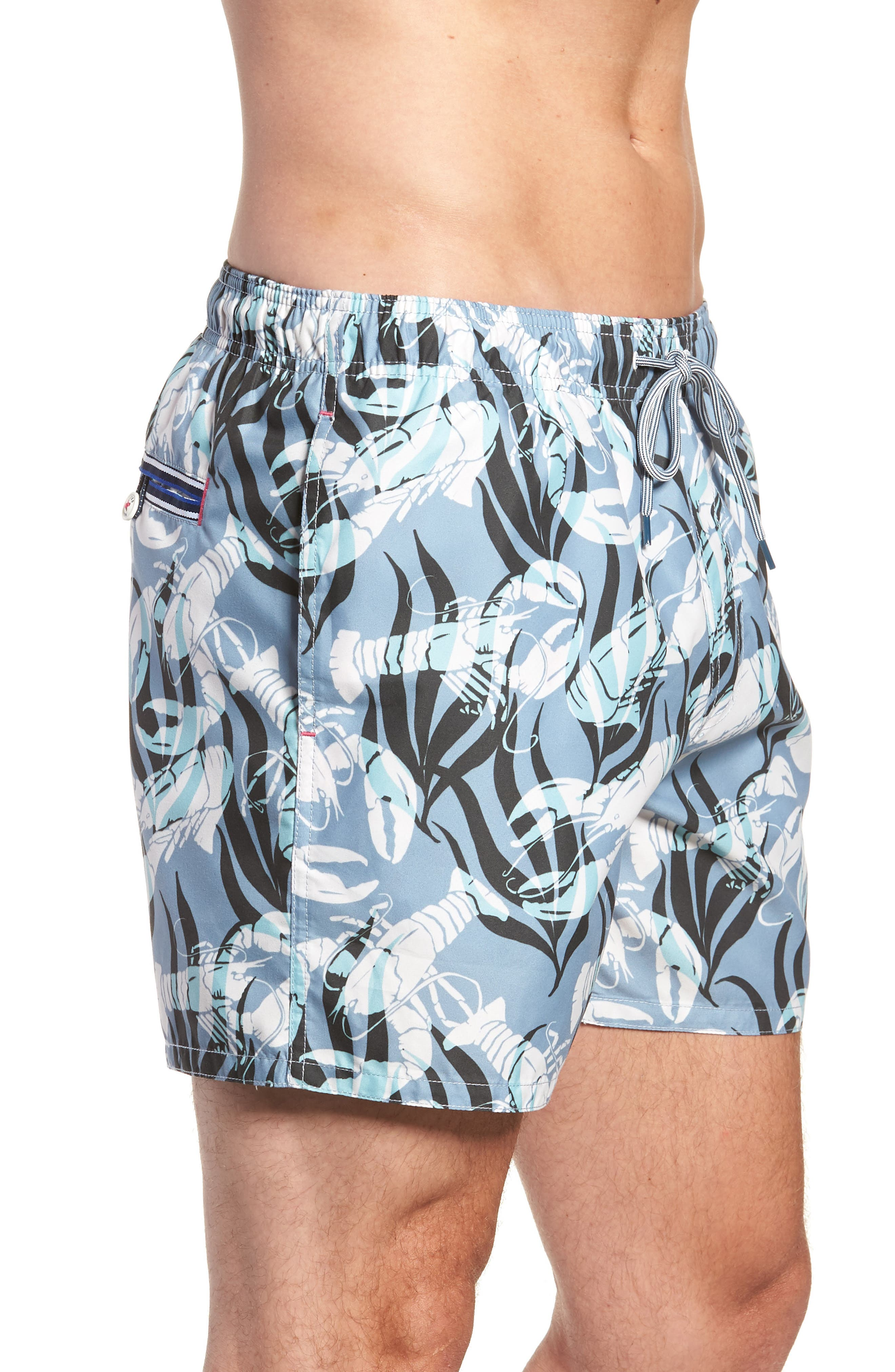 Yalow Slim Fit Lobster Swim Trunks,                             Alternate thumbnail 4, color,                             Blue