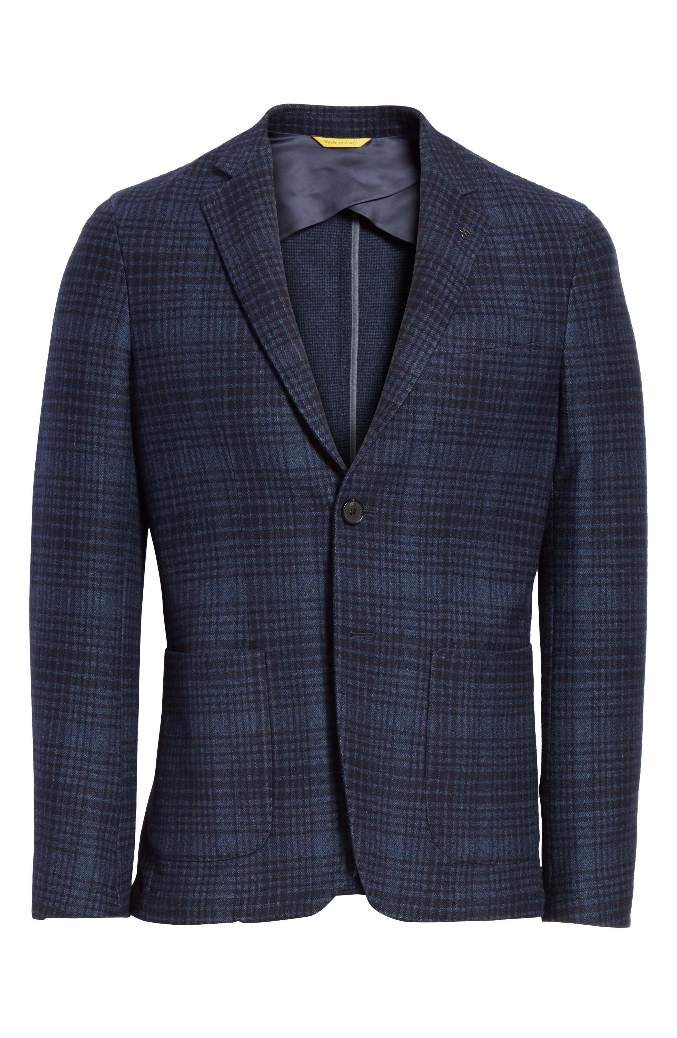 Slim Fit Plaid Wool & Cotton Sport Coat,                             Alternate thumbnail 6, color,                             Blue