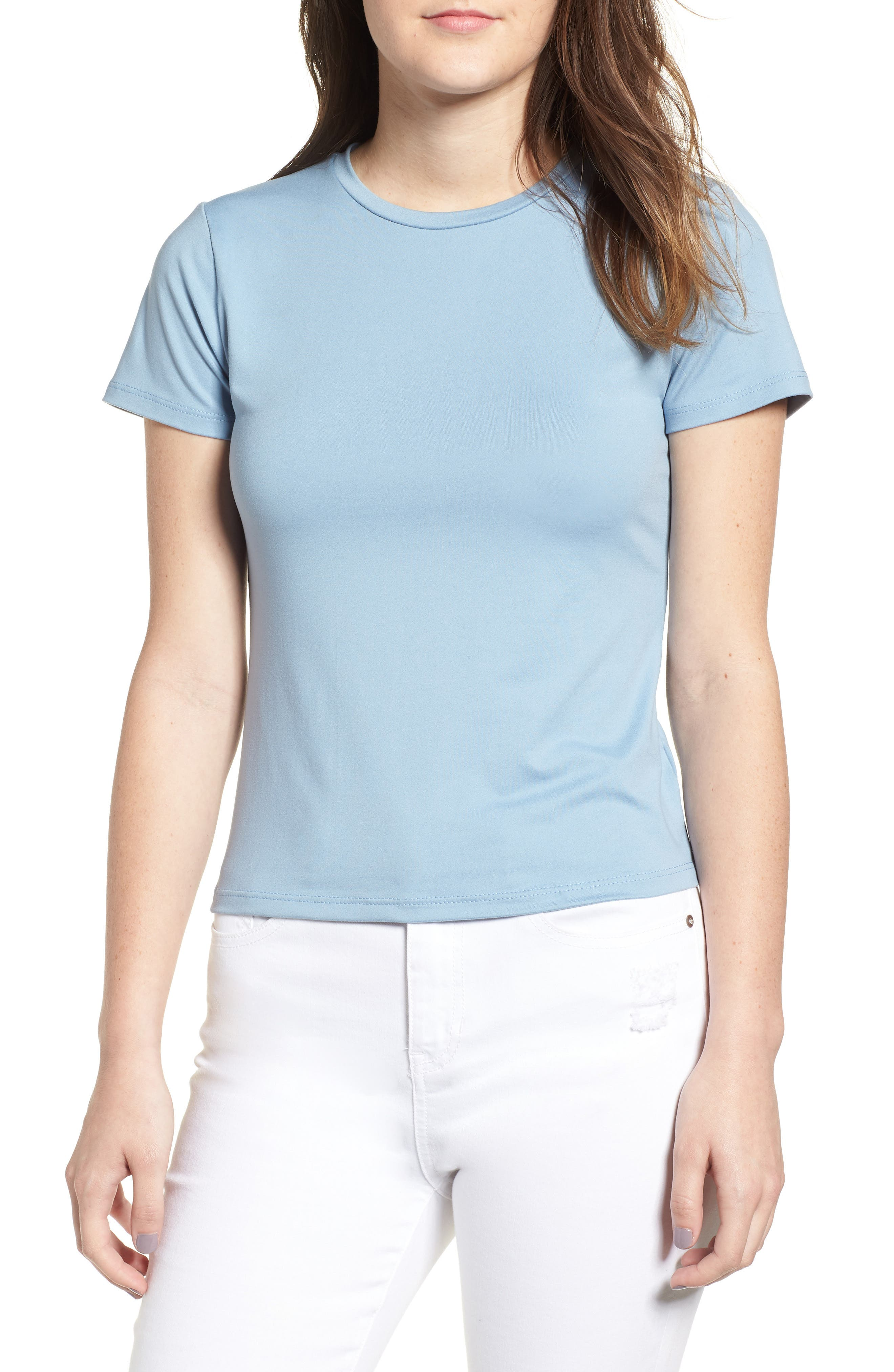 Fitted Tee,                         Main,                         color, Chambray