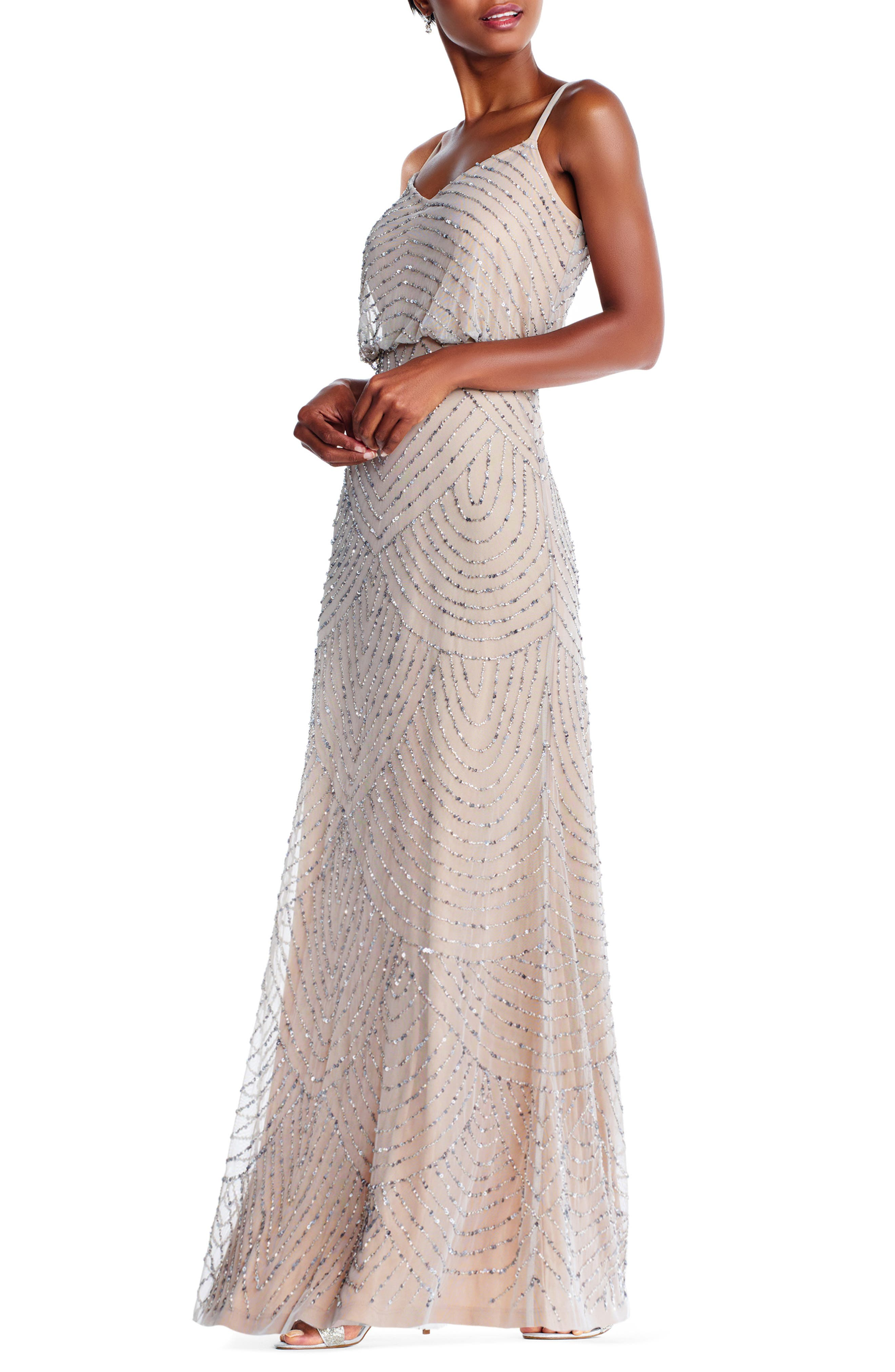 Embellished Blouson Gown,                             Alternate thumbnail 3, color,                             Silver/ Nude