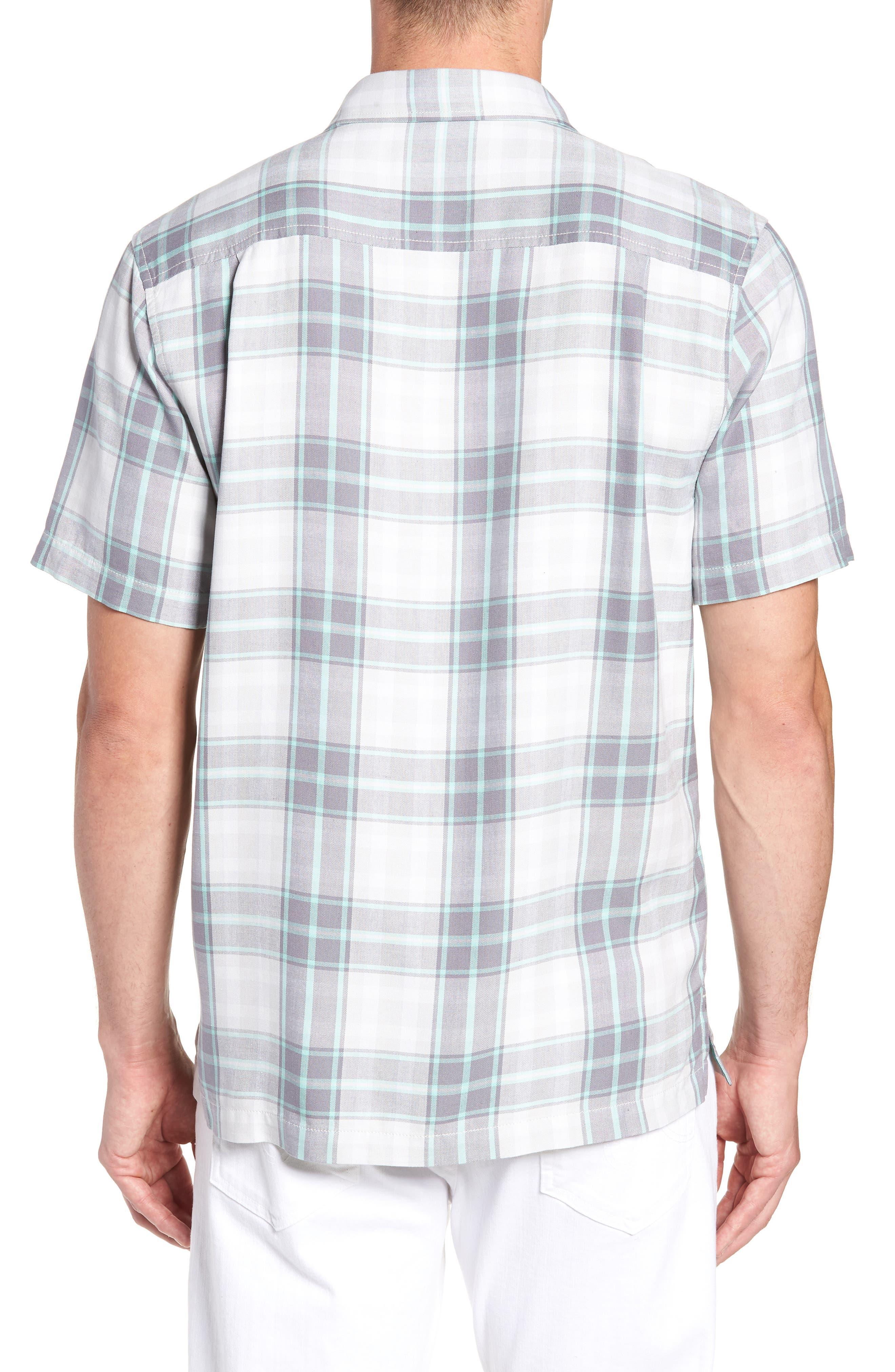 Zamora Plaid Silk Sport Shirt,                             Alternate thumbnail 4, color,                             Bala Shark