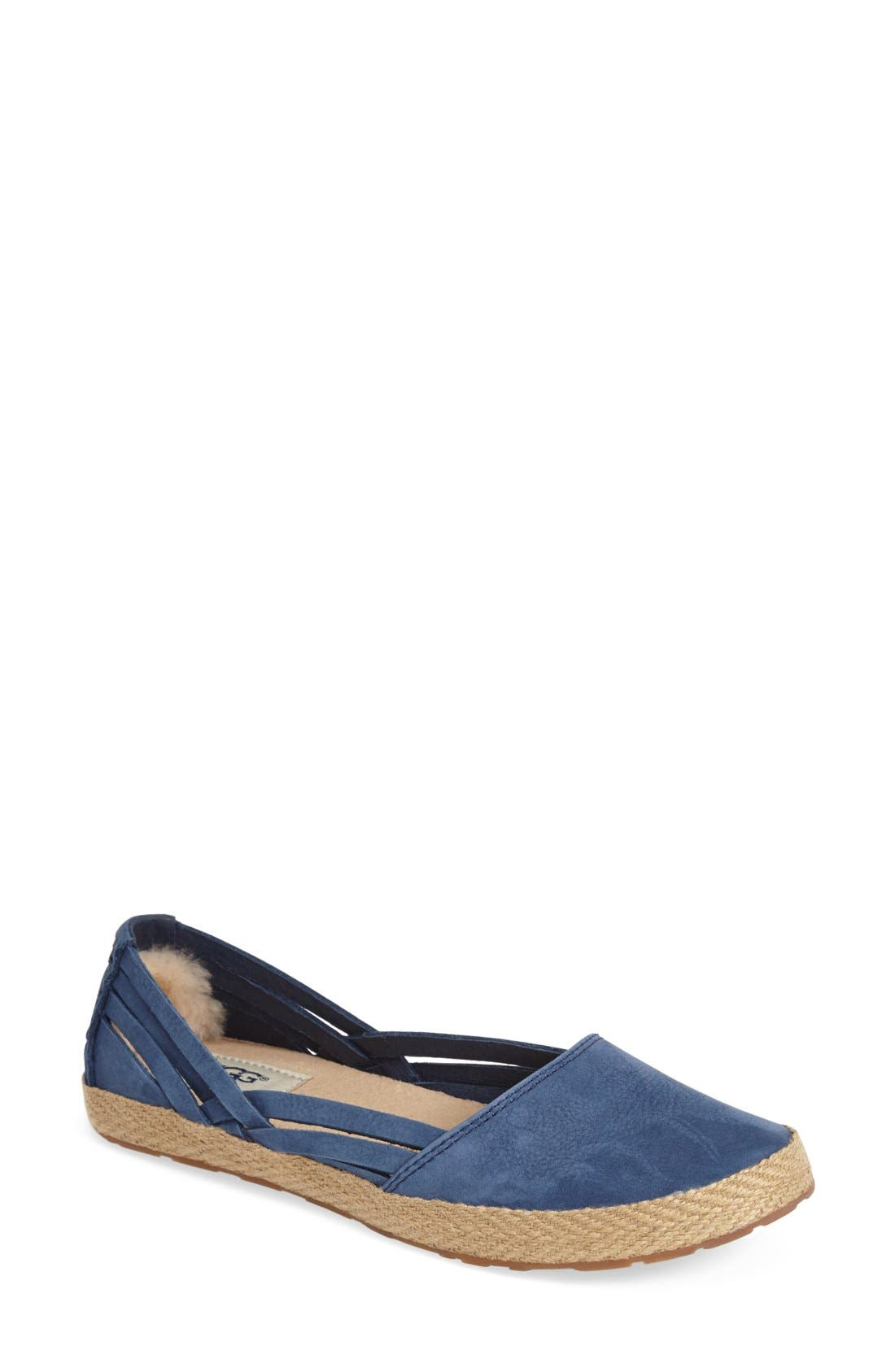 UGG Flats Shoes Womens - UGG Cicily Leather White
