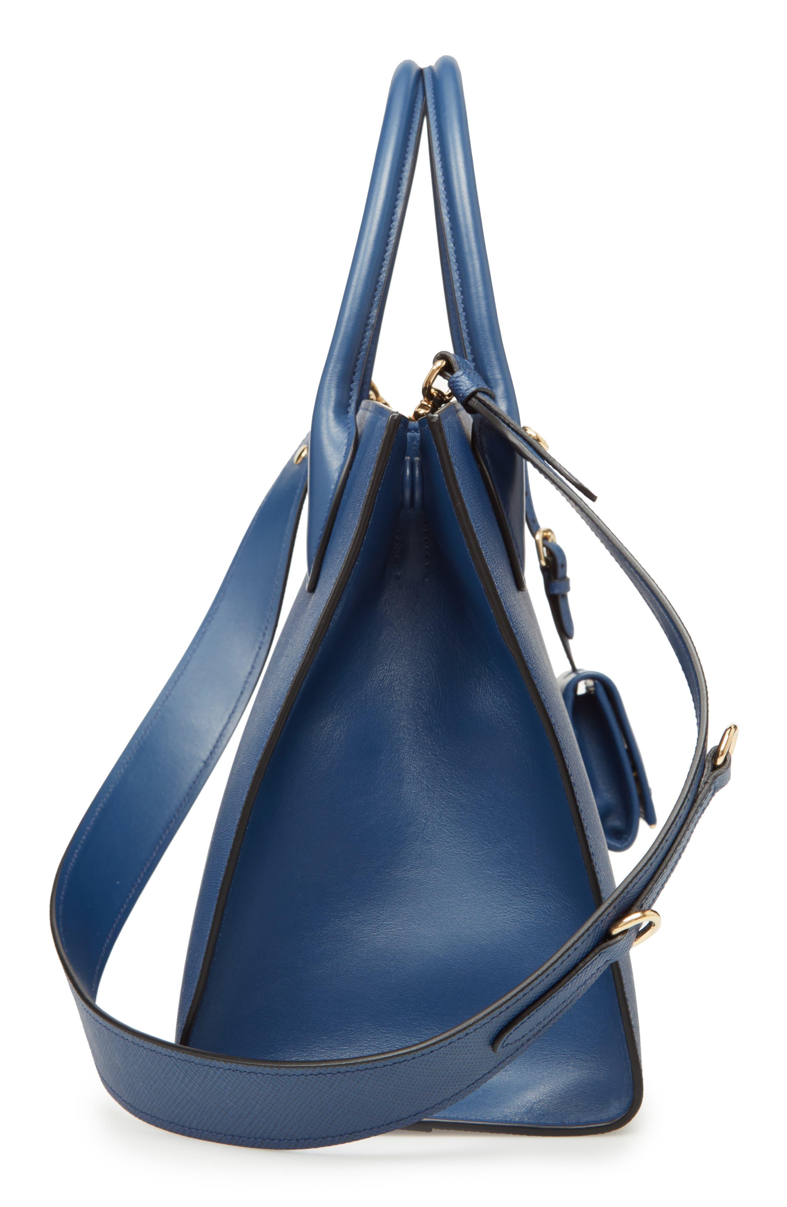Large Monochrome Saffiano Tote,                             Alternate thumbnail 5, color,                             Bluette