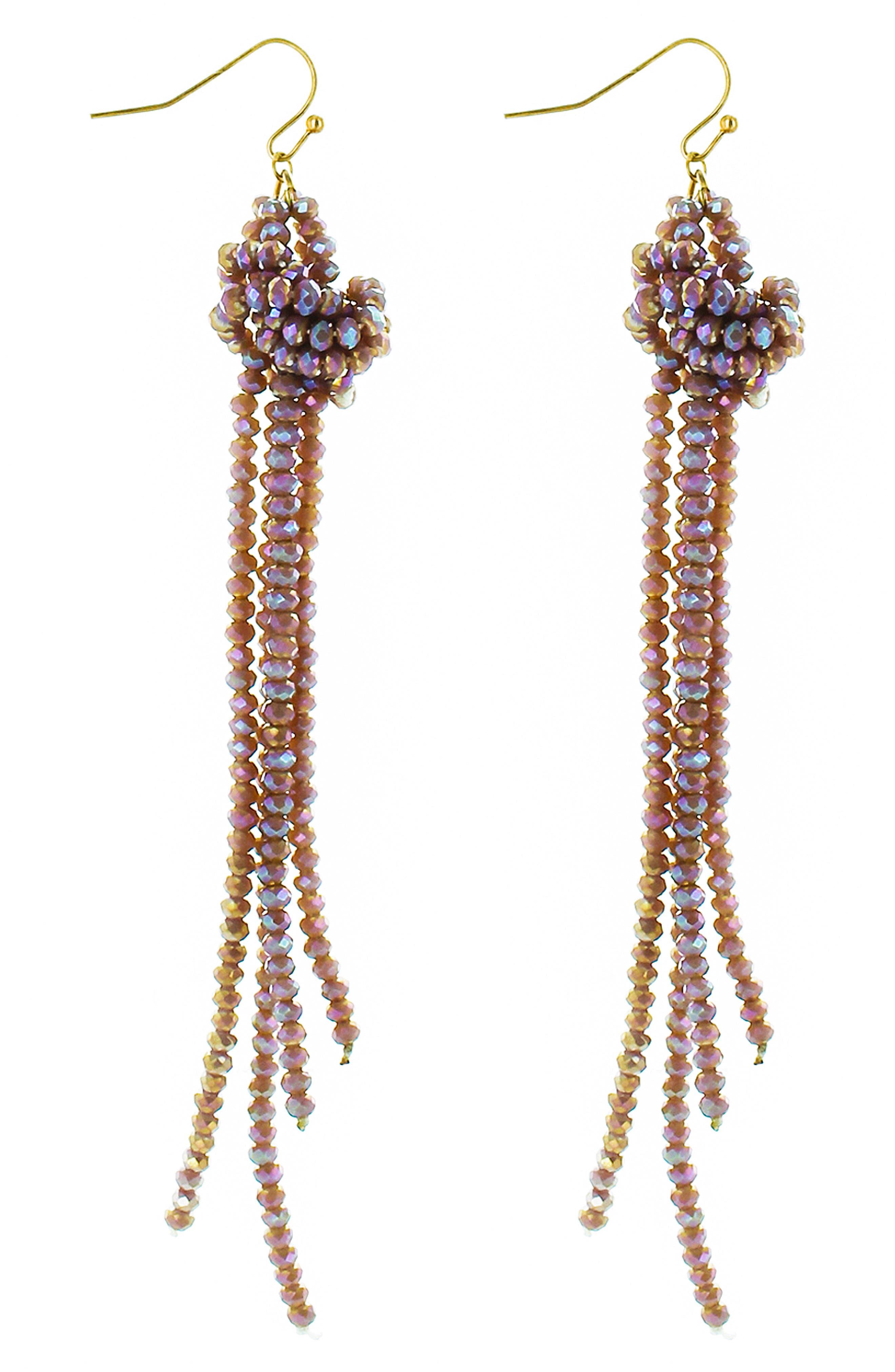 Crystal Knot Tassel Earrings,                         Main,                         color, Light Purple
