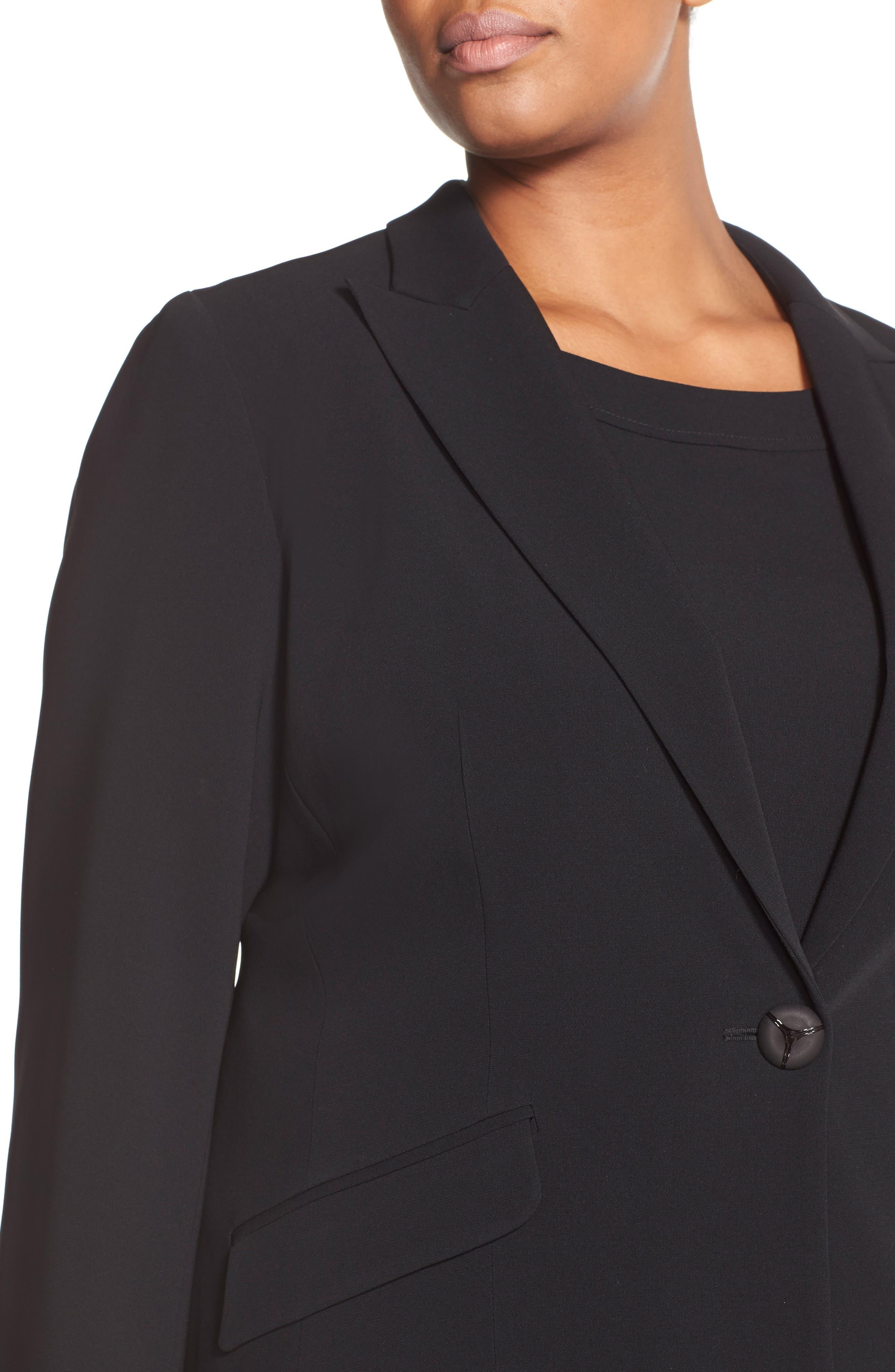 Sleeveless Suiting Sheath Dress,                             Alternate thumbnail 6, color,                             Black