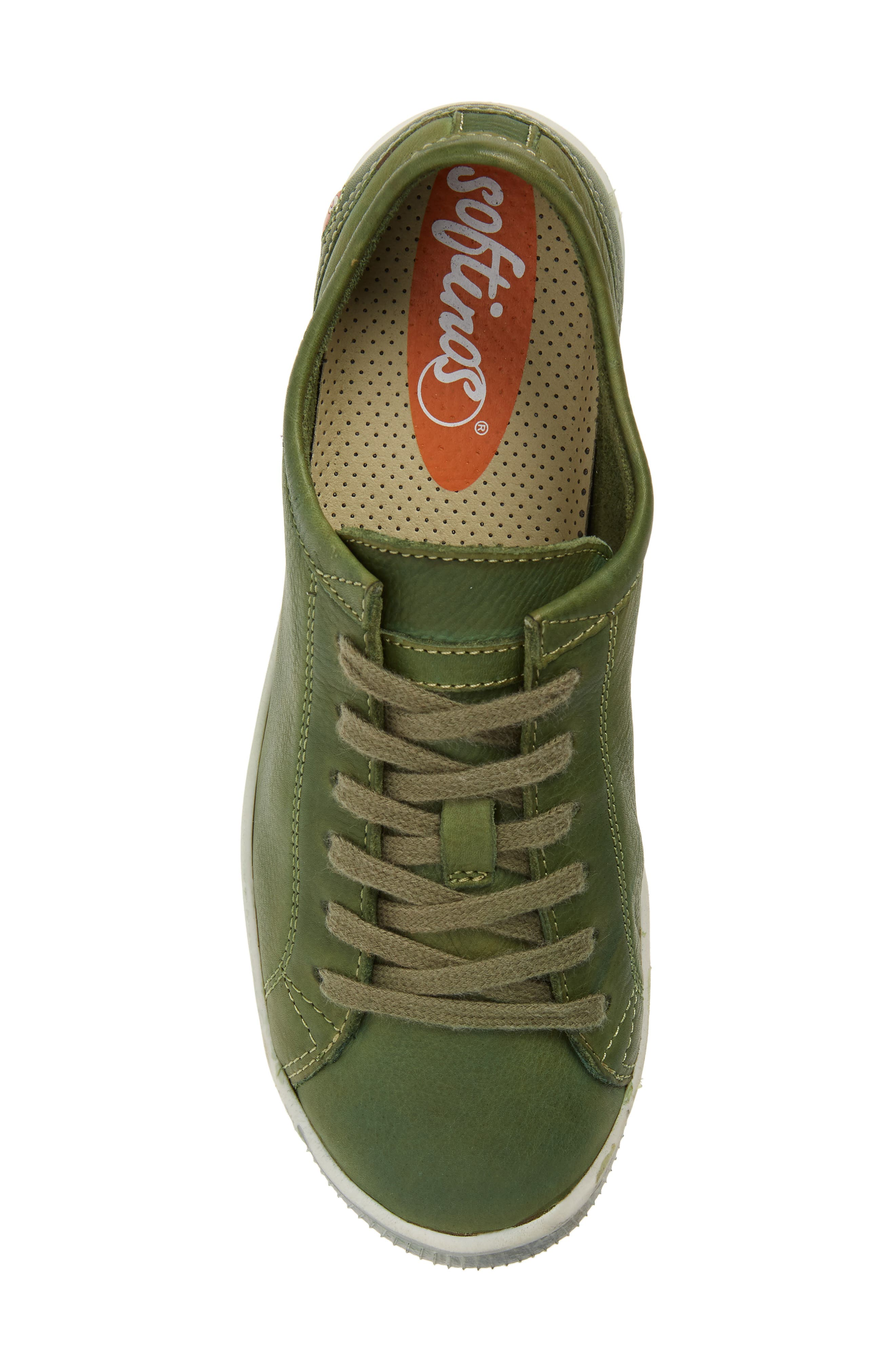 Isla Distressed Sneaker,                             Alternate thumbnail 4, color,                             Forest Green Washed Leather