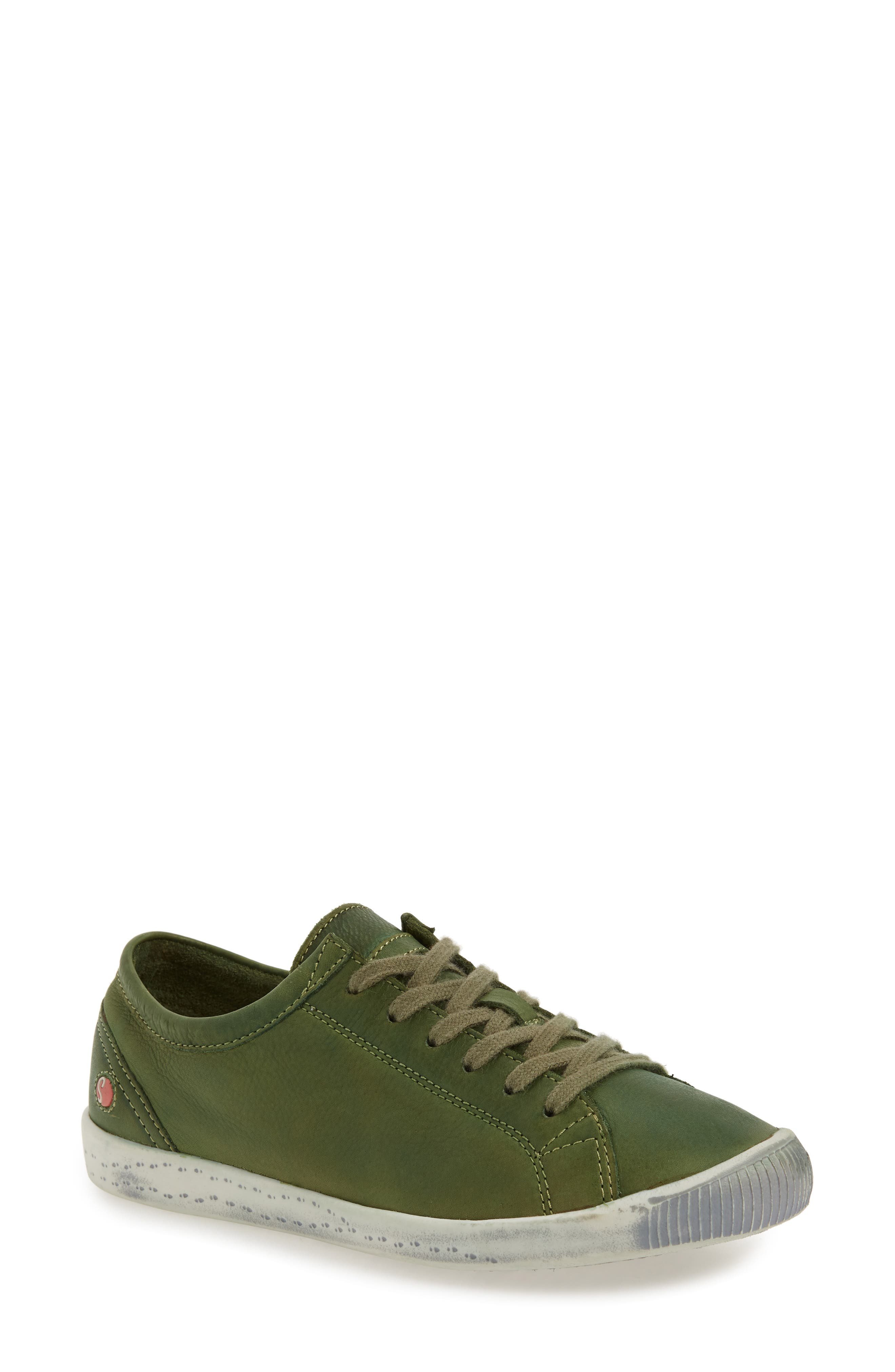 Isla Distressed Sneaker,                             Main thumbnail 1, color,                             Forest Green Washed Leather