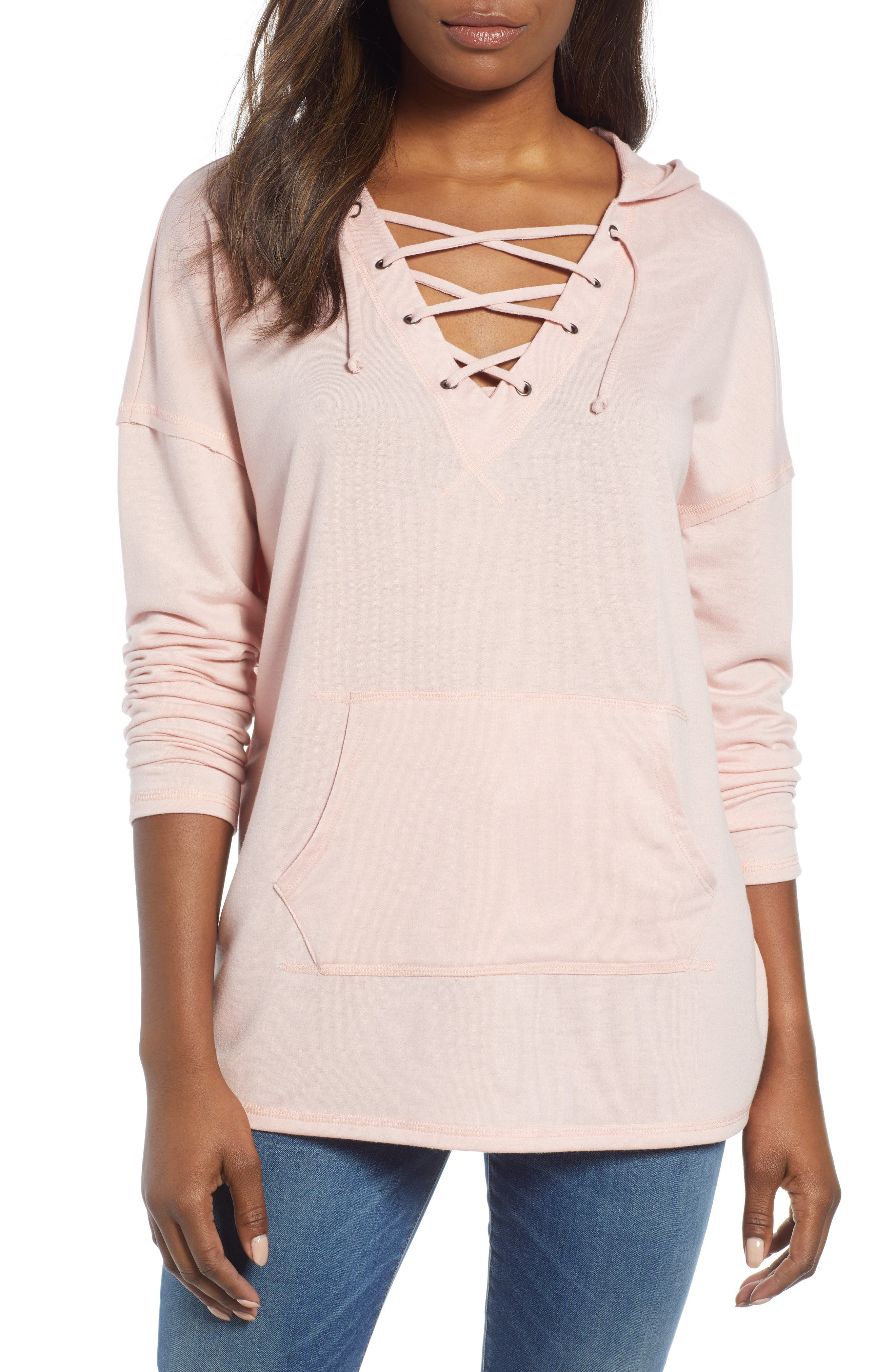 Lace-Up Hooded Sweatshirt,                         Main,                         color, Pink Adobe