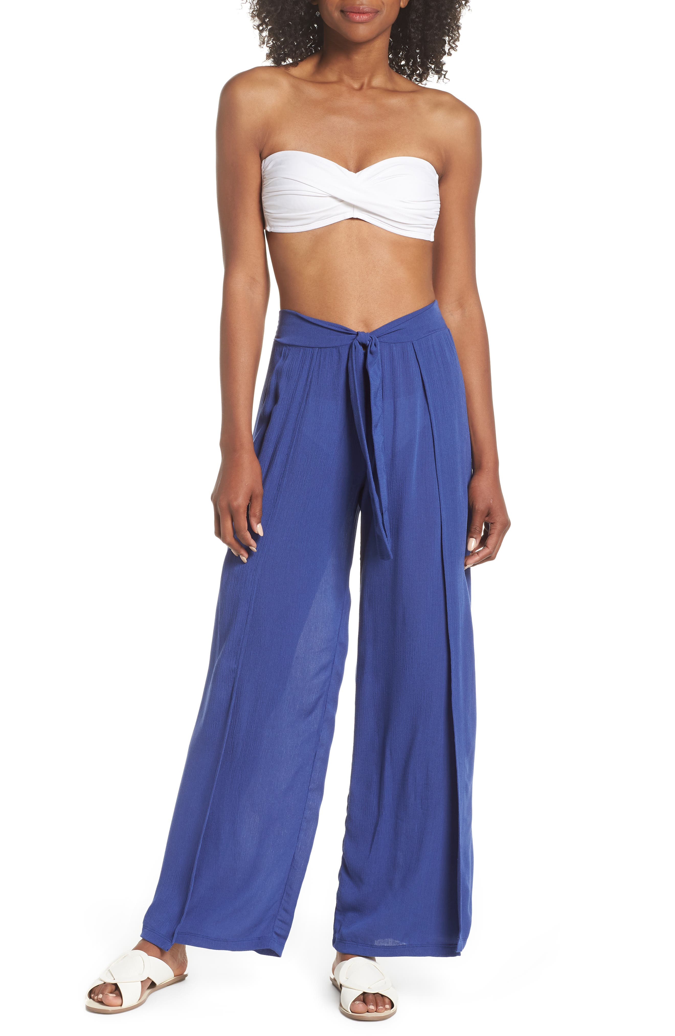 Modern Muse Cover-Up Flyaway Pants,                             Main thumbnail 1, color,                             Blue Topaz