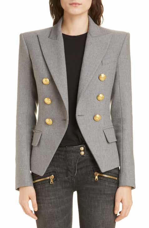 f8ed8bdc881de Balmain Double Breasted Wool Blend Jacket