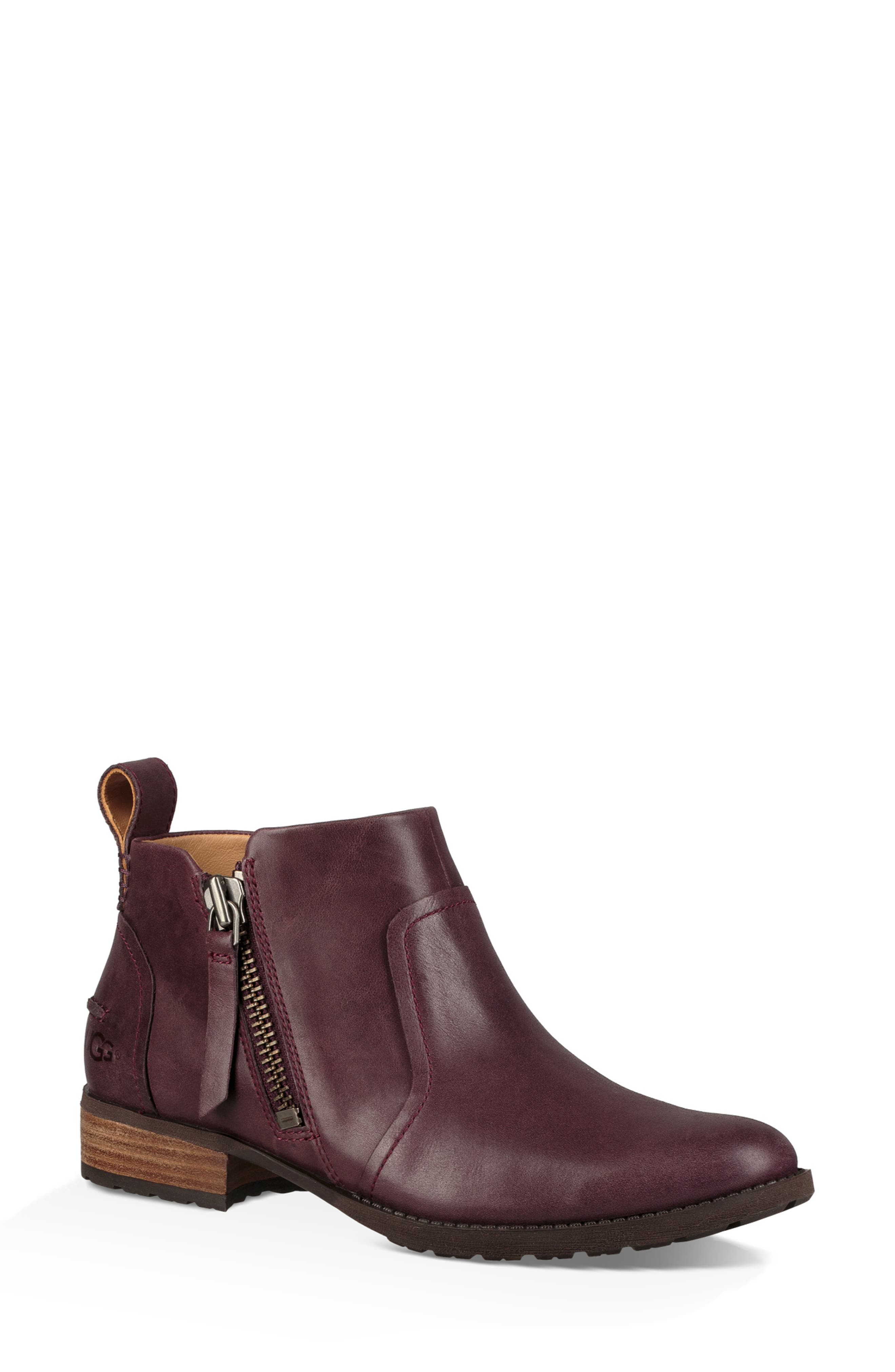 Aureo Bootie,                         Main,                         color, Oxblood Leather