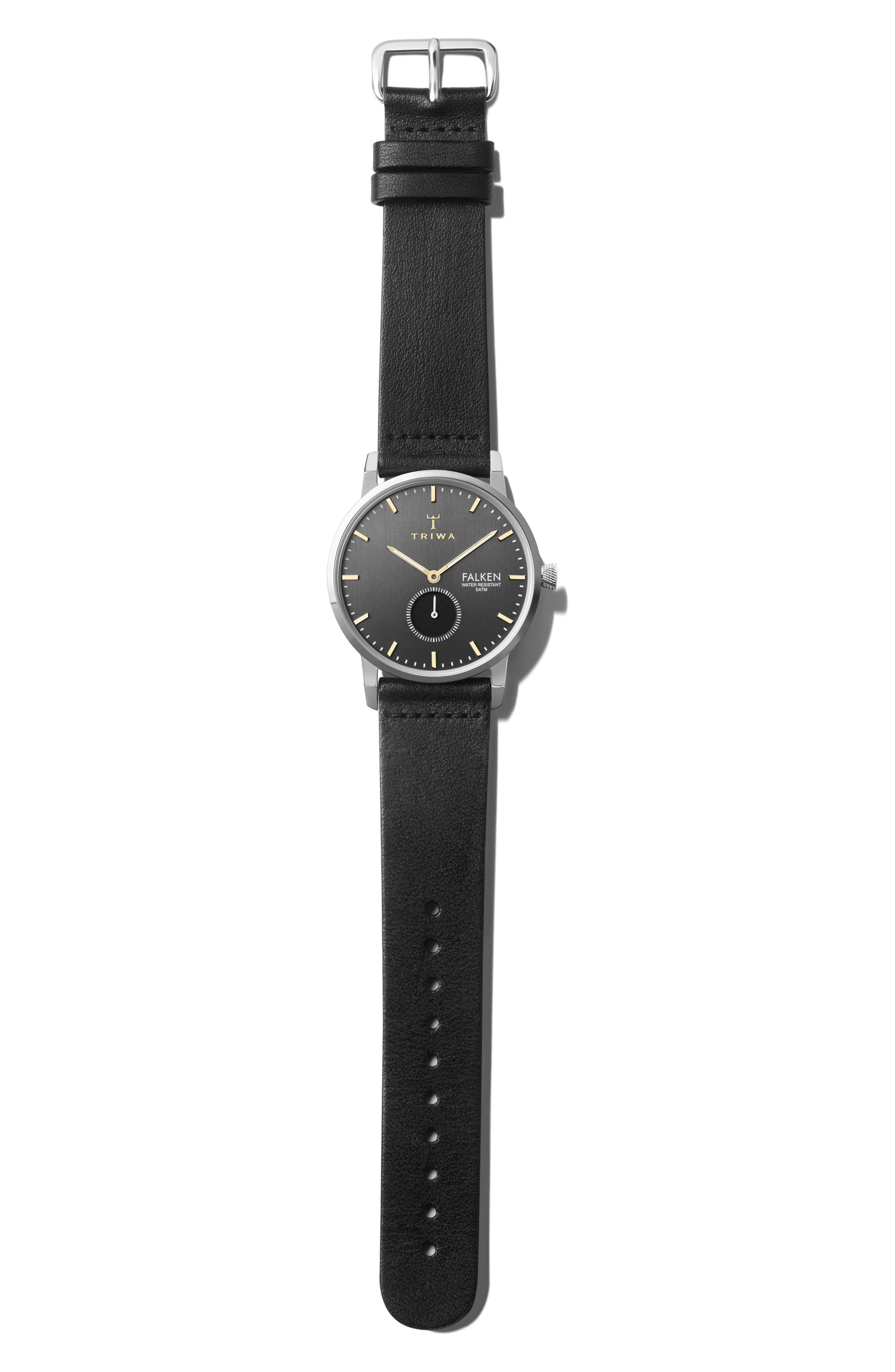 TRIWA Smoky Falken Leather Strap Watch, 38Mm in Black/ Grey/ Silver