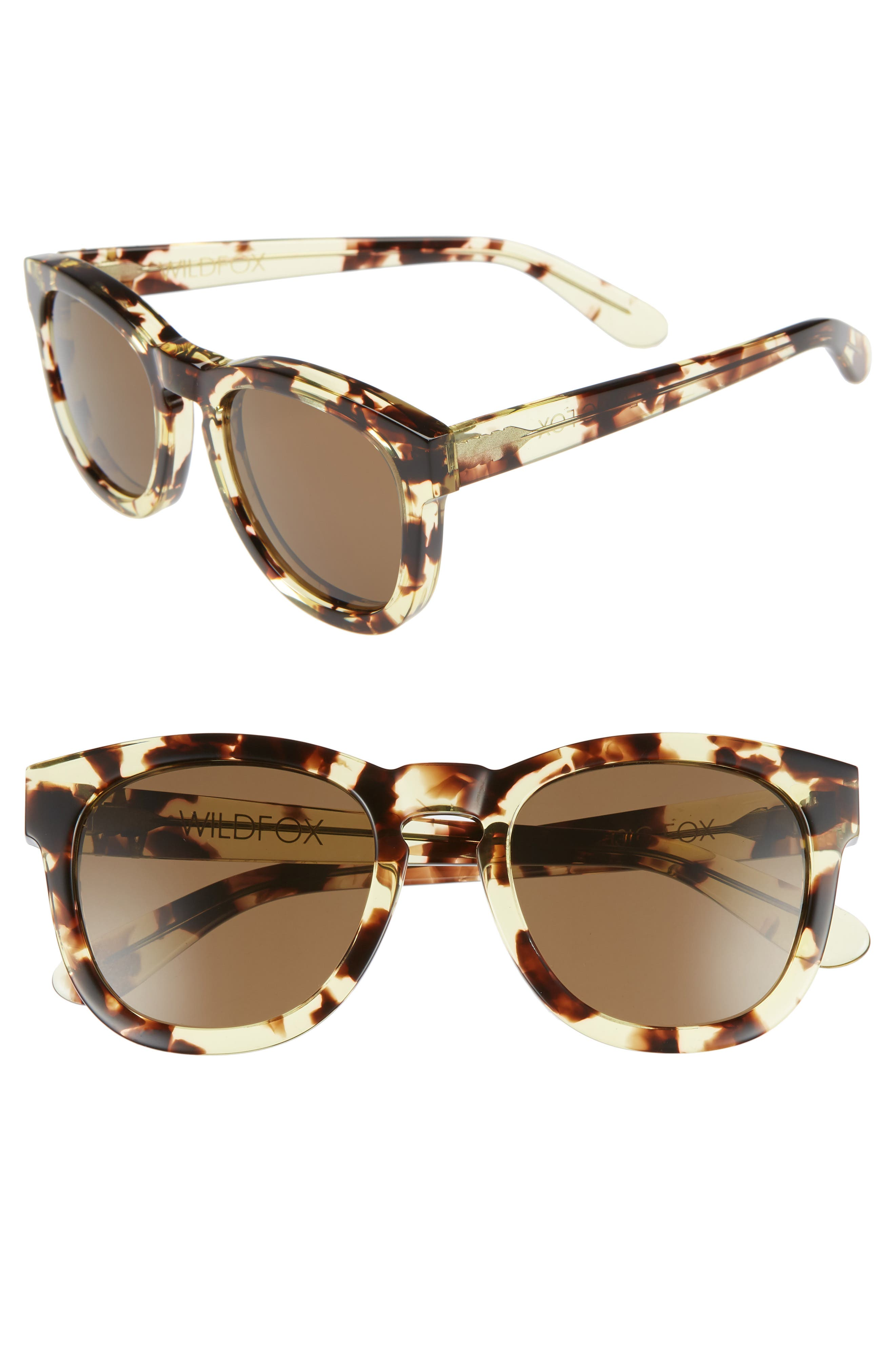 'Classic Fox' 50mm Retro Sunglasses,                             Main thumbnail 1, color,                             Amber Tortoise/ Brown Solid