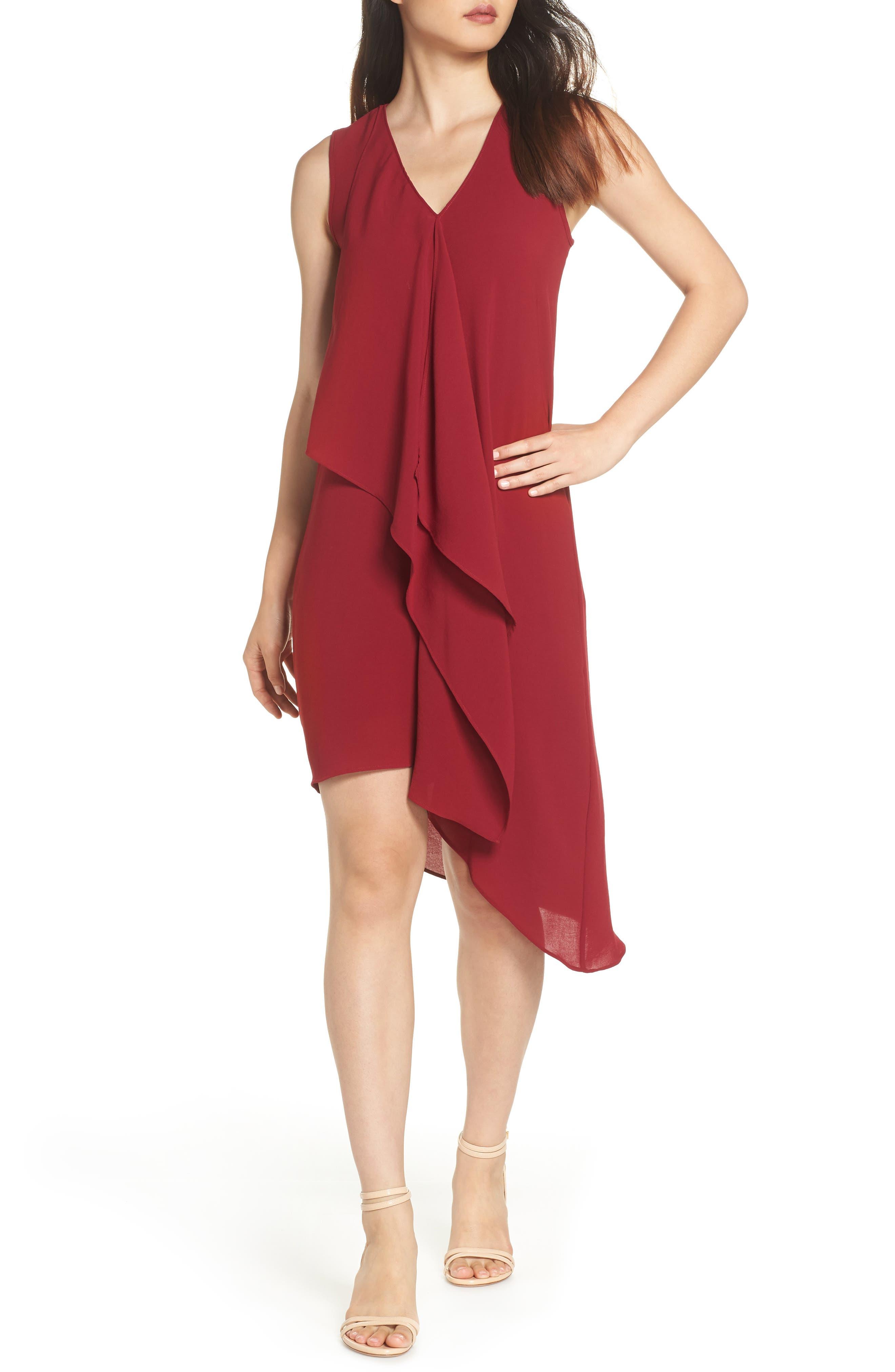 Ruffle Front Crepe High/Low Dress,                             Main thumbnail 1, color,                             Alizarin Crimson
