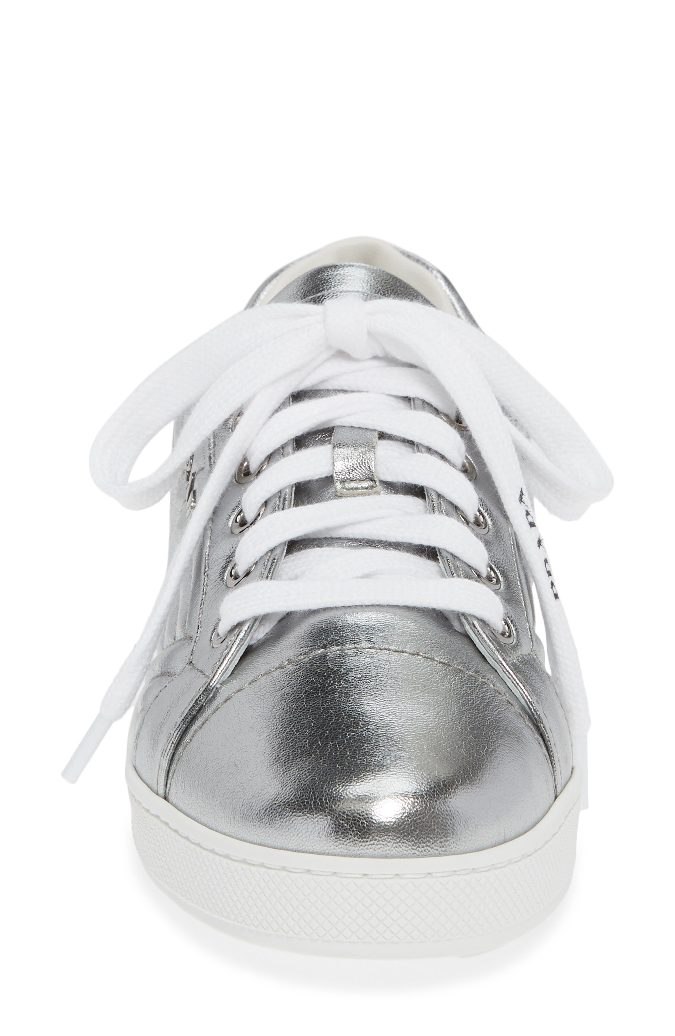 Quilted Leather Sneaker,                             Alternate thumbnail 6, color,                             Silver