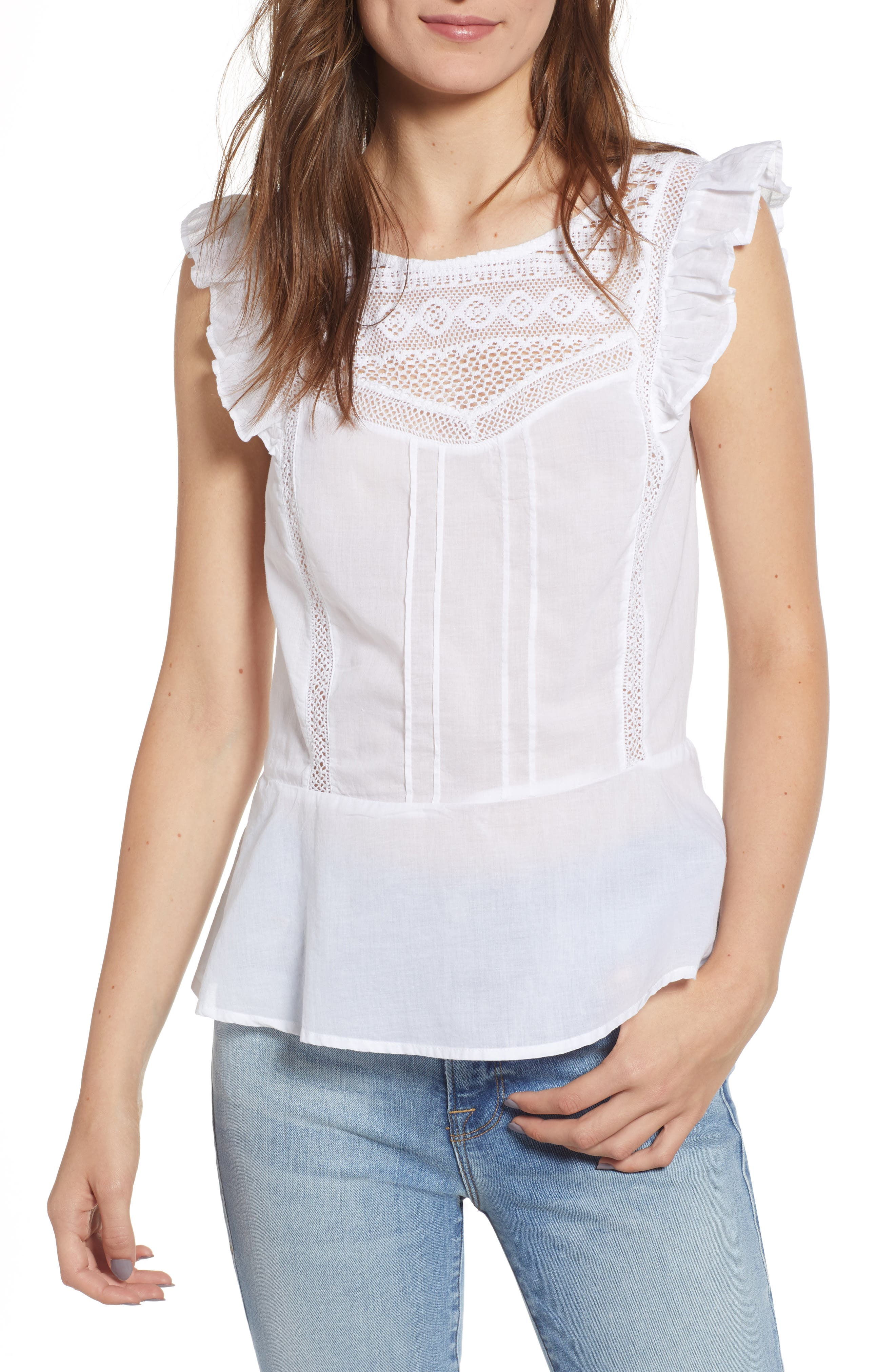 Mixed Lace Peplum Top,                         Main,                         color, White