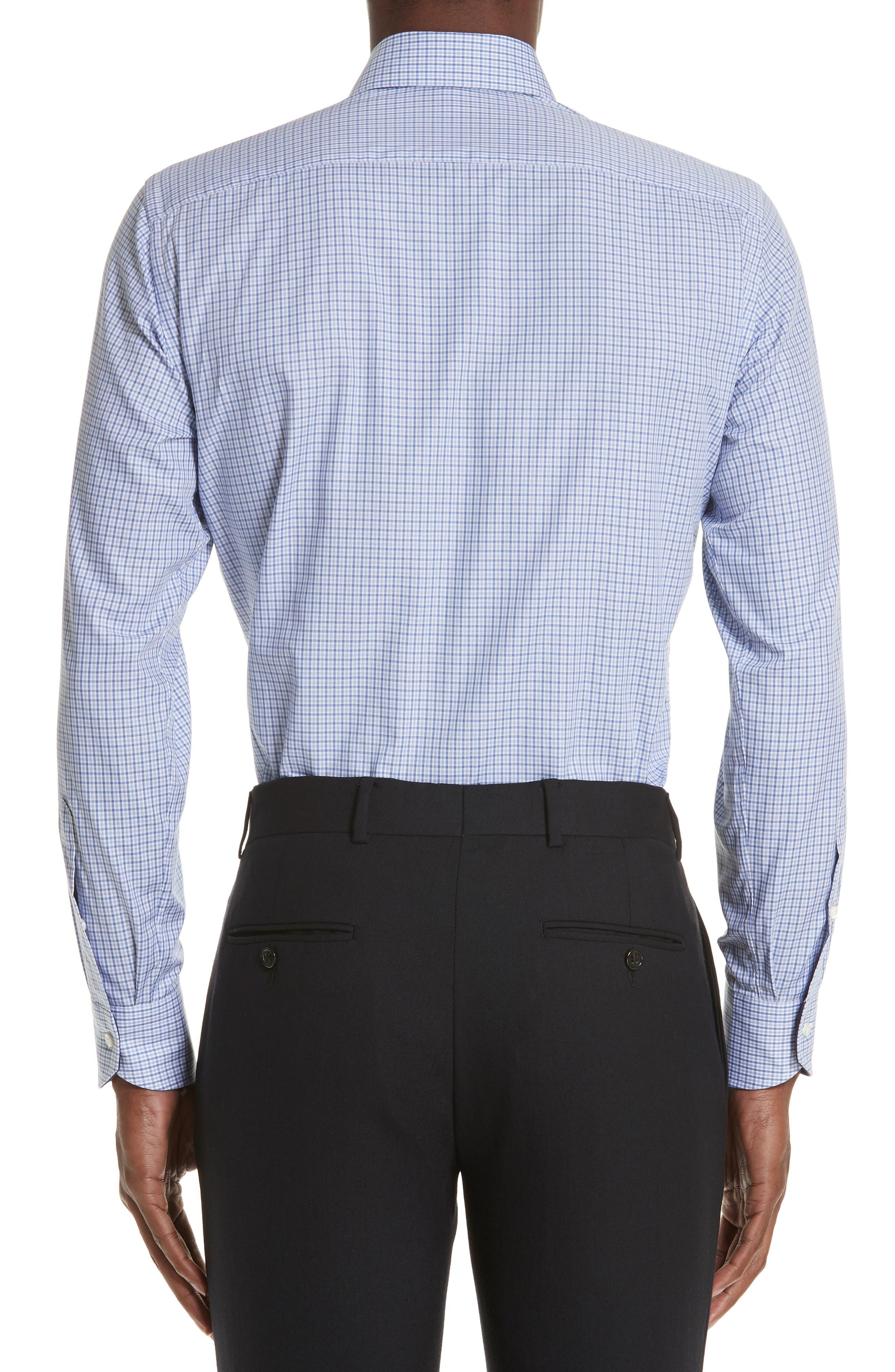 Regular Fit Check Dress Shirt,                             Alternate thumbnail 3, color,                             Medium Blue