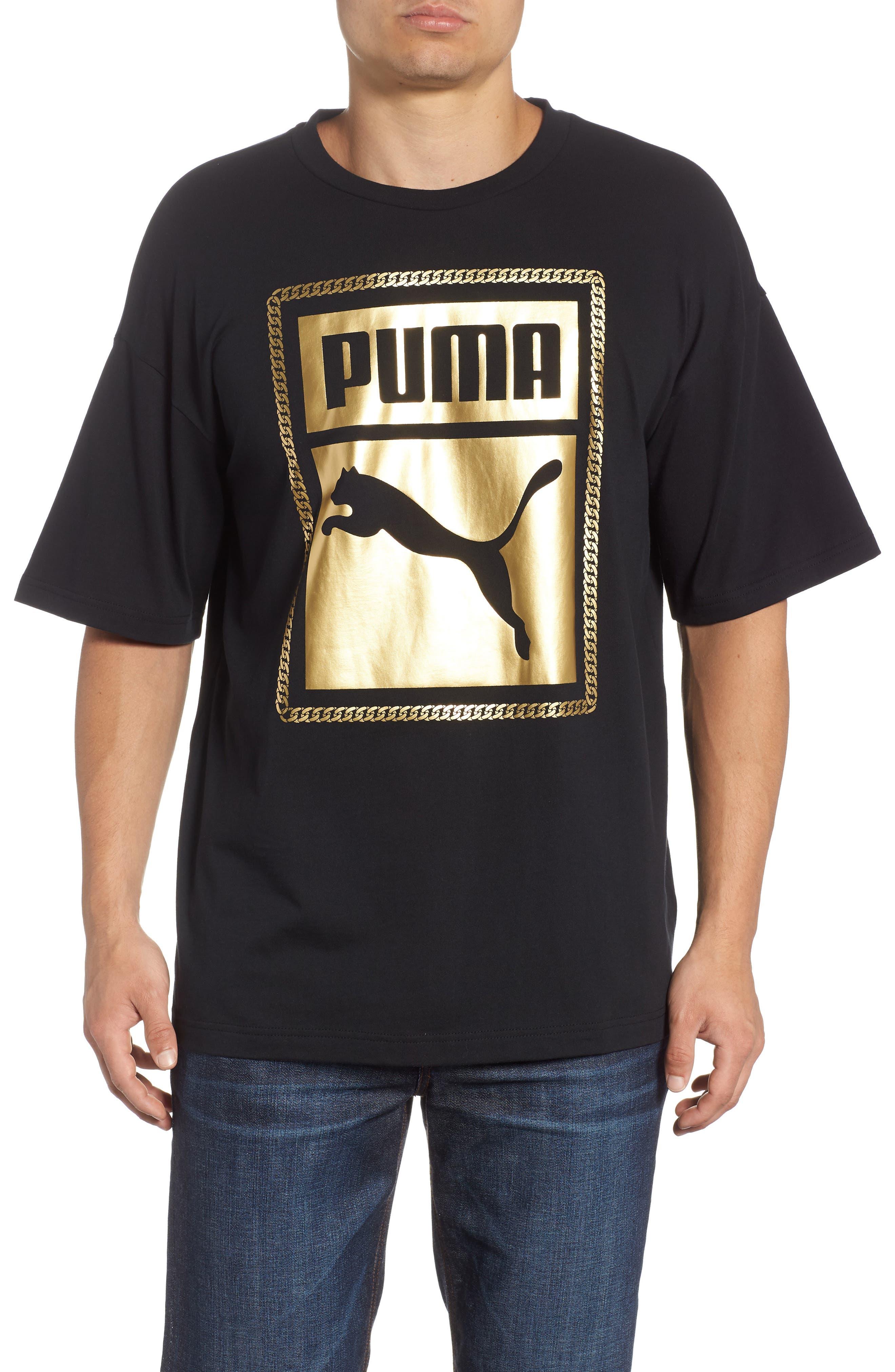 Chains T-Shirt,                         Main,                         color, Puma Black/ Gold