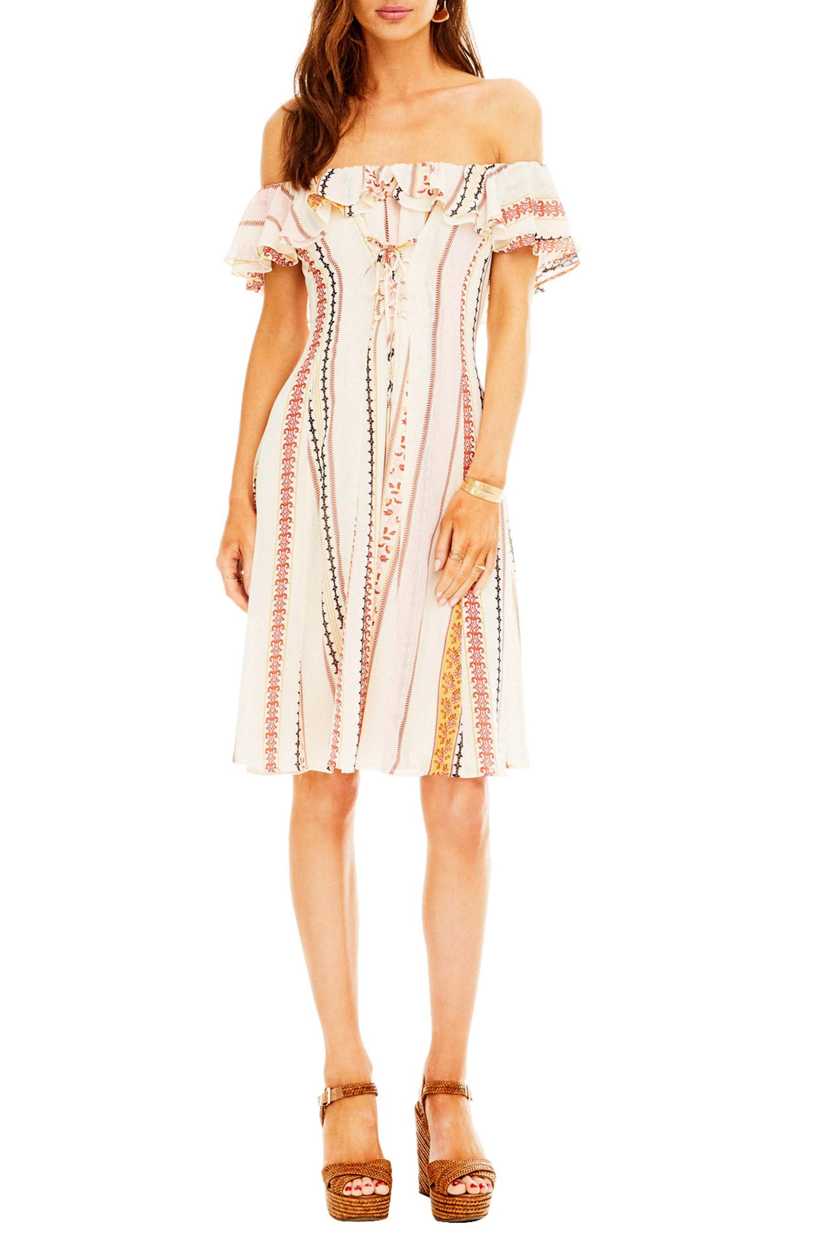 Cassidy Dress,                             Main thumbnail 1, color,                             Cream Floral Stripe