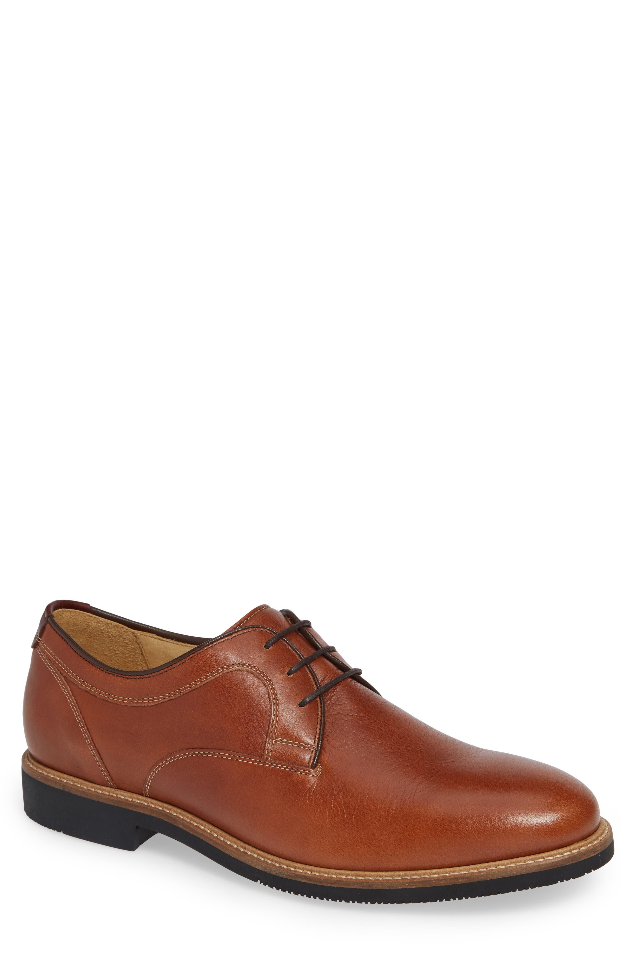 Barlow Plain Toe Derby,                             Main thumbnail 1, color,                             Dark Tan Leather